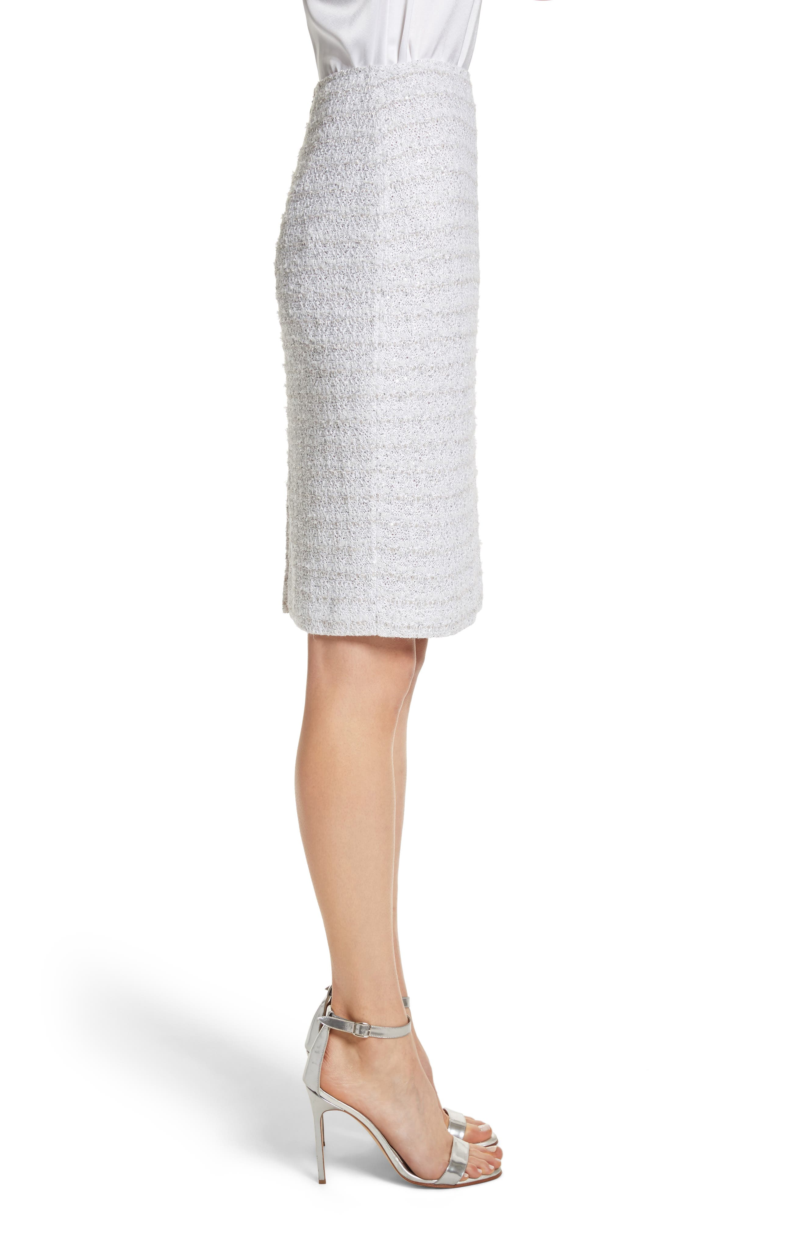 Frosted Metallic Tweed Pencil Skirt,                             Alternate thumbnail 3, color,                             Bianco Multi