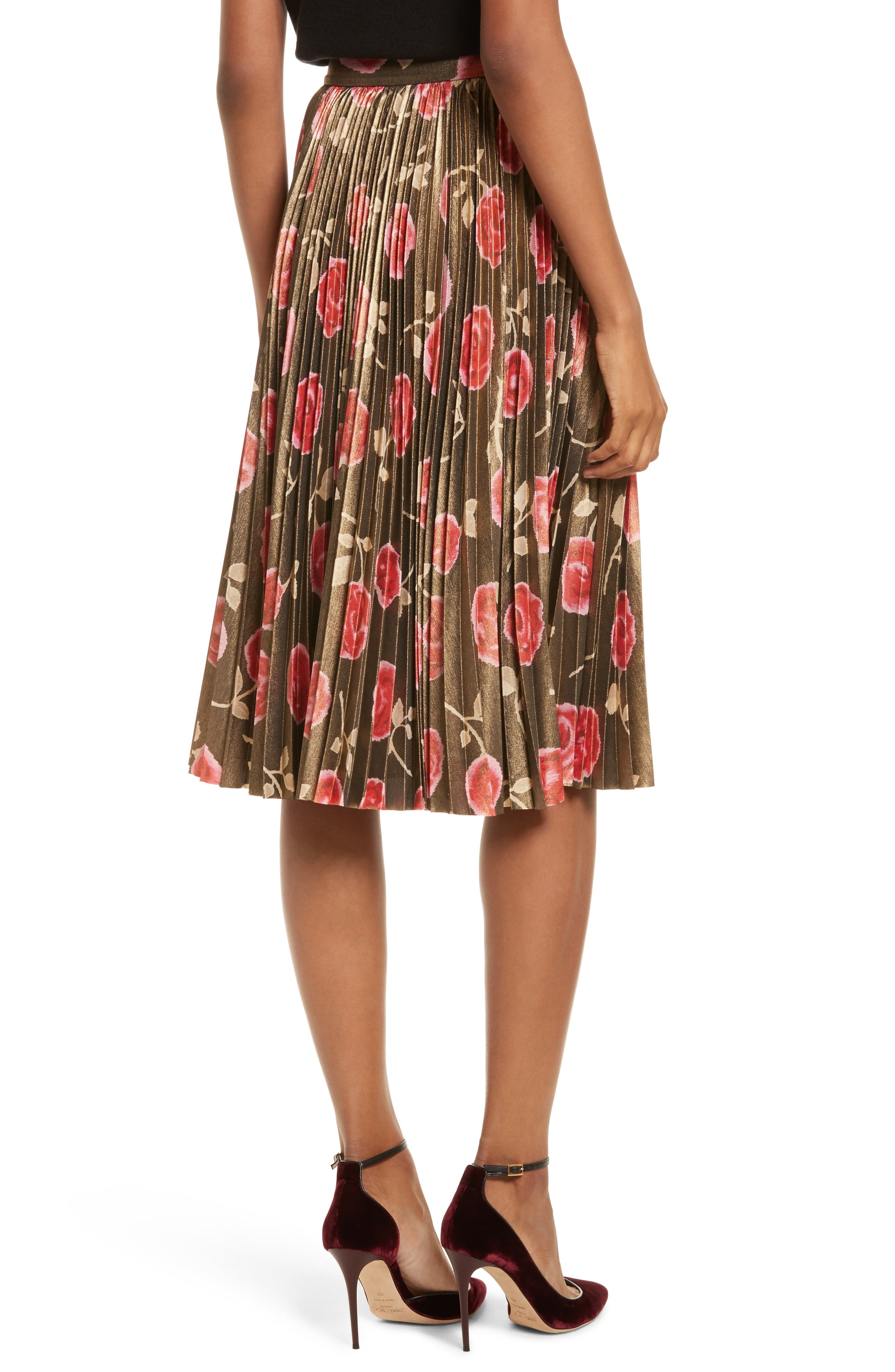 Alternate Image 2  - kate spade new york hazy rose pleated metallic skirt