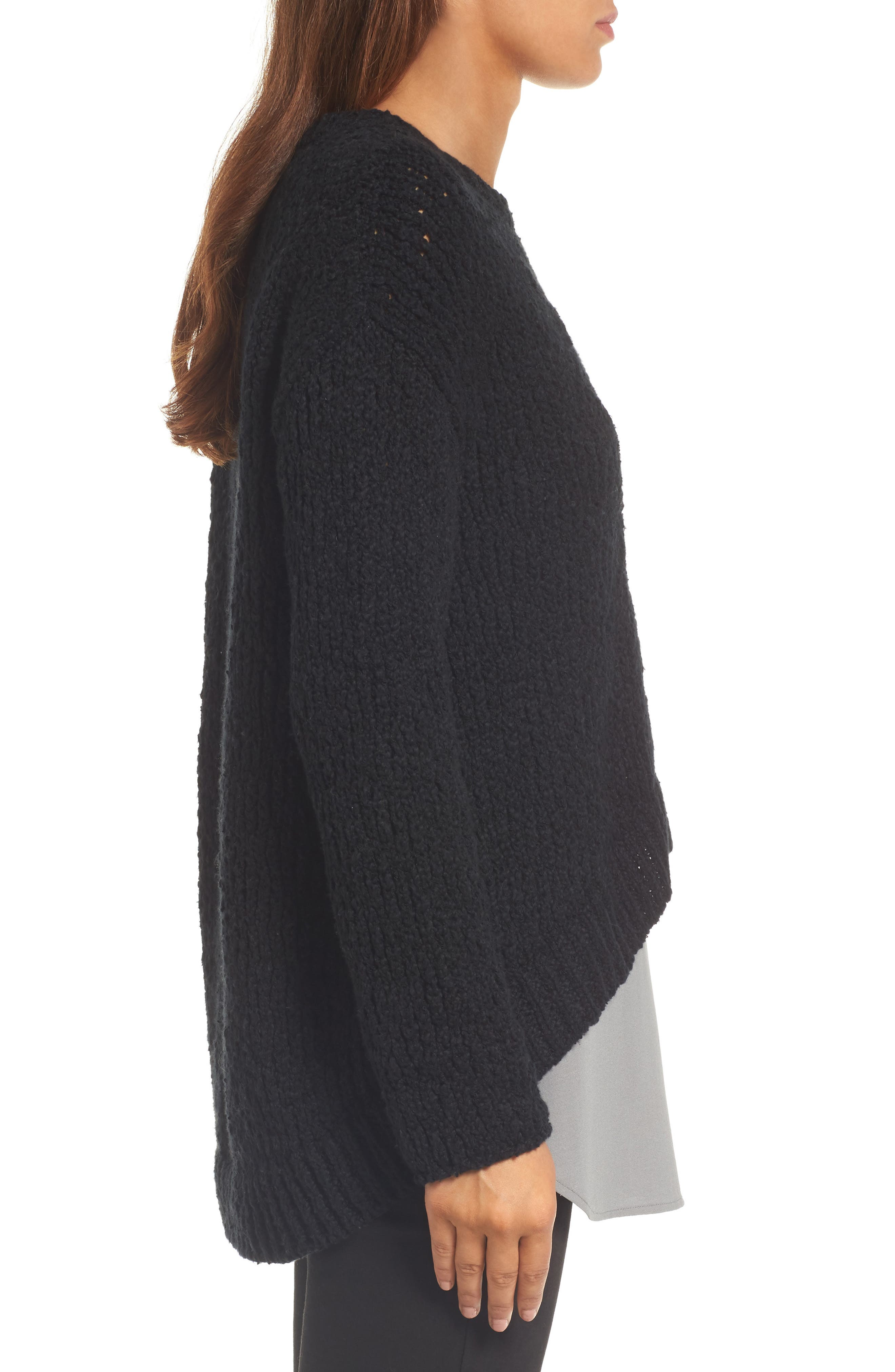 High/Low Organic Cotton Sweater,                             Alternate thumbnail 3, color,                             Black