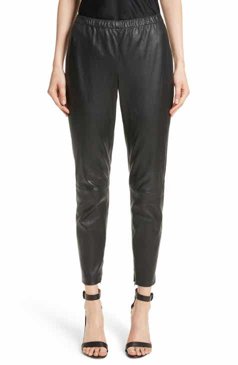 St. John Collection Stretch Nappa Leather Crop Pants by ST. JOHN COLLECTION
