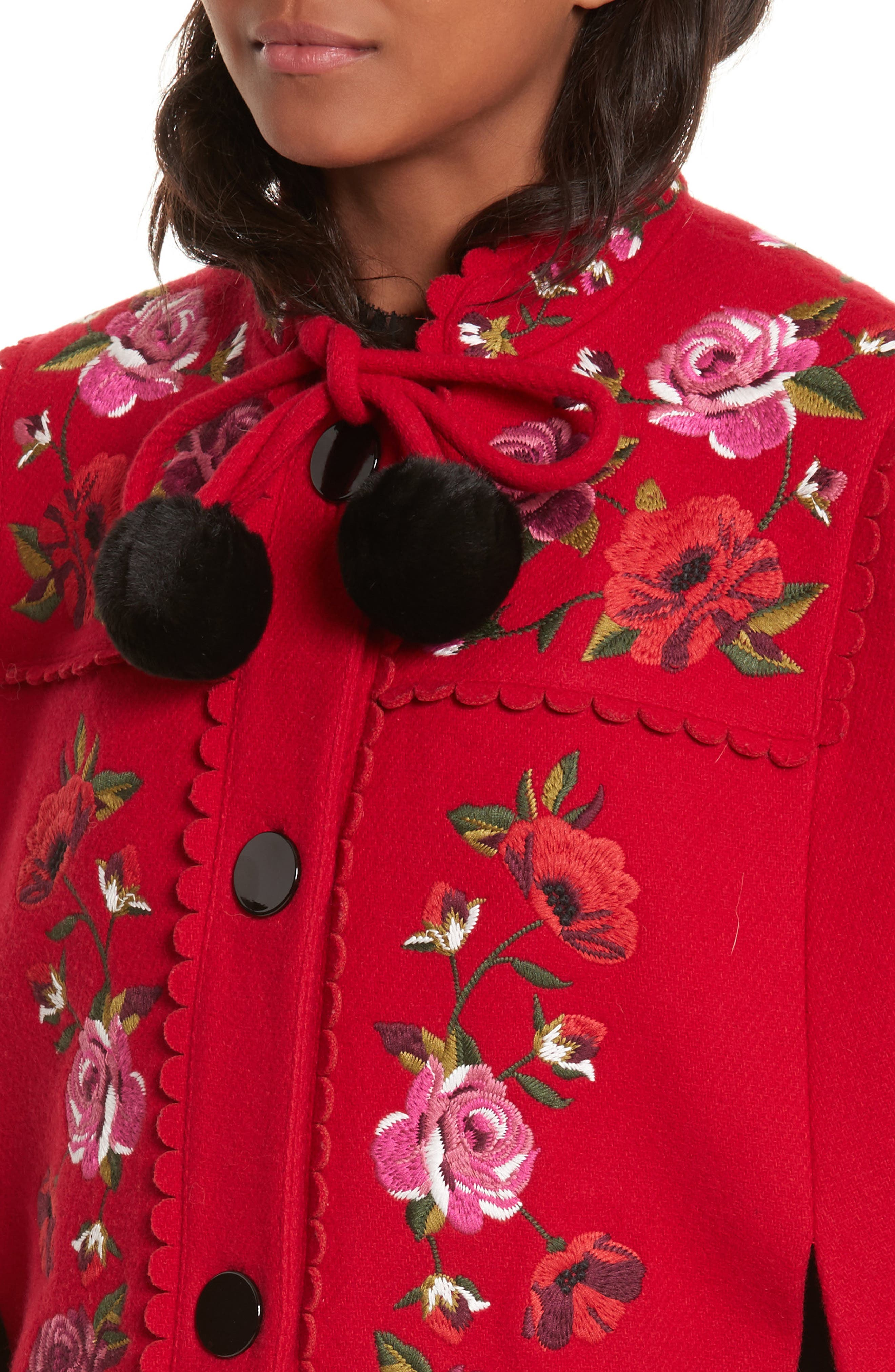 mari wool blend cape,                             Alternate thumbnail 4, color,                             Charm Red