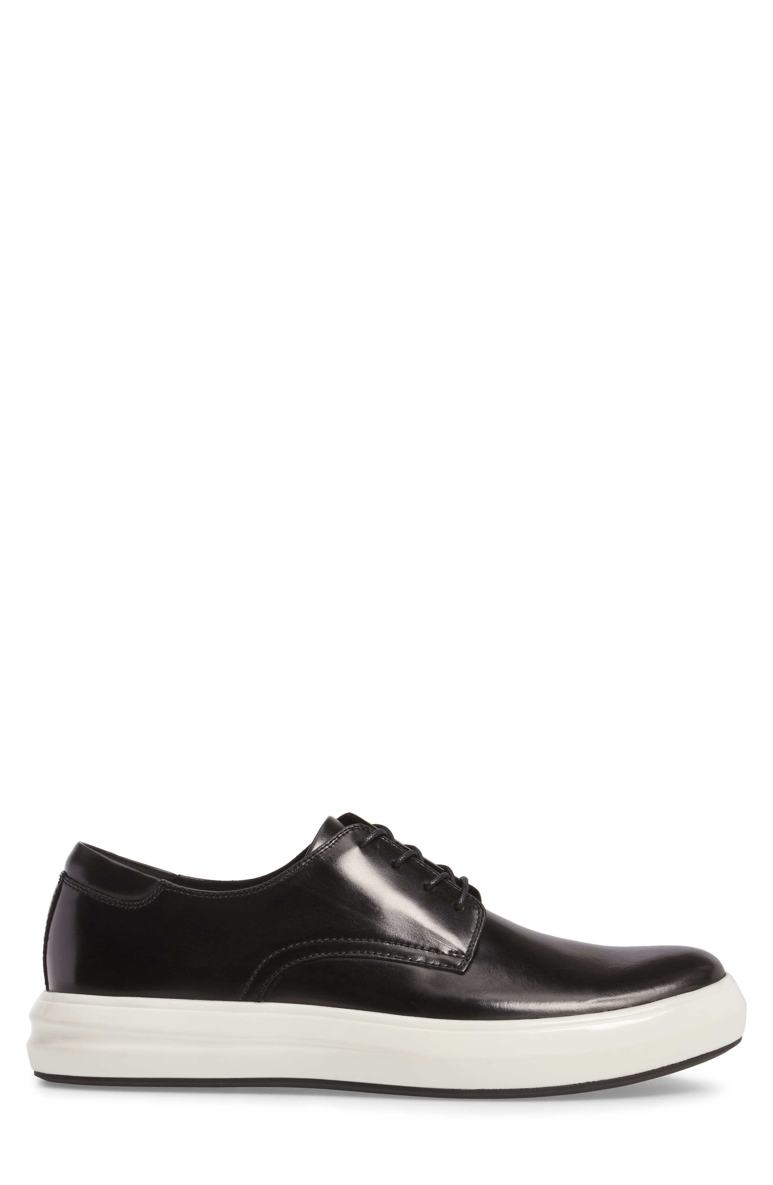 Sneaker,                             Alternate thumbnail 3, color,                             Black Leather