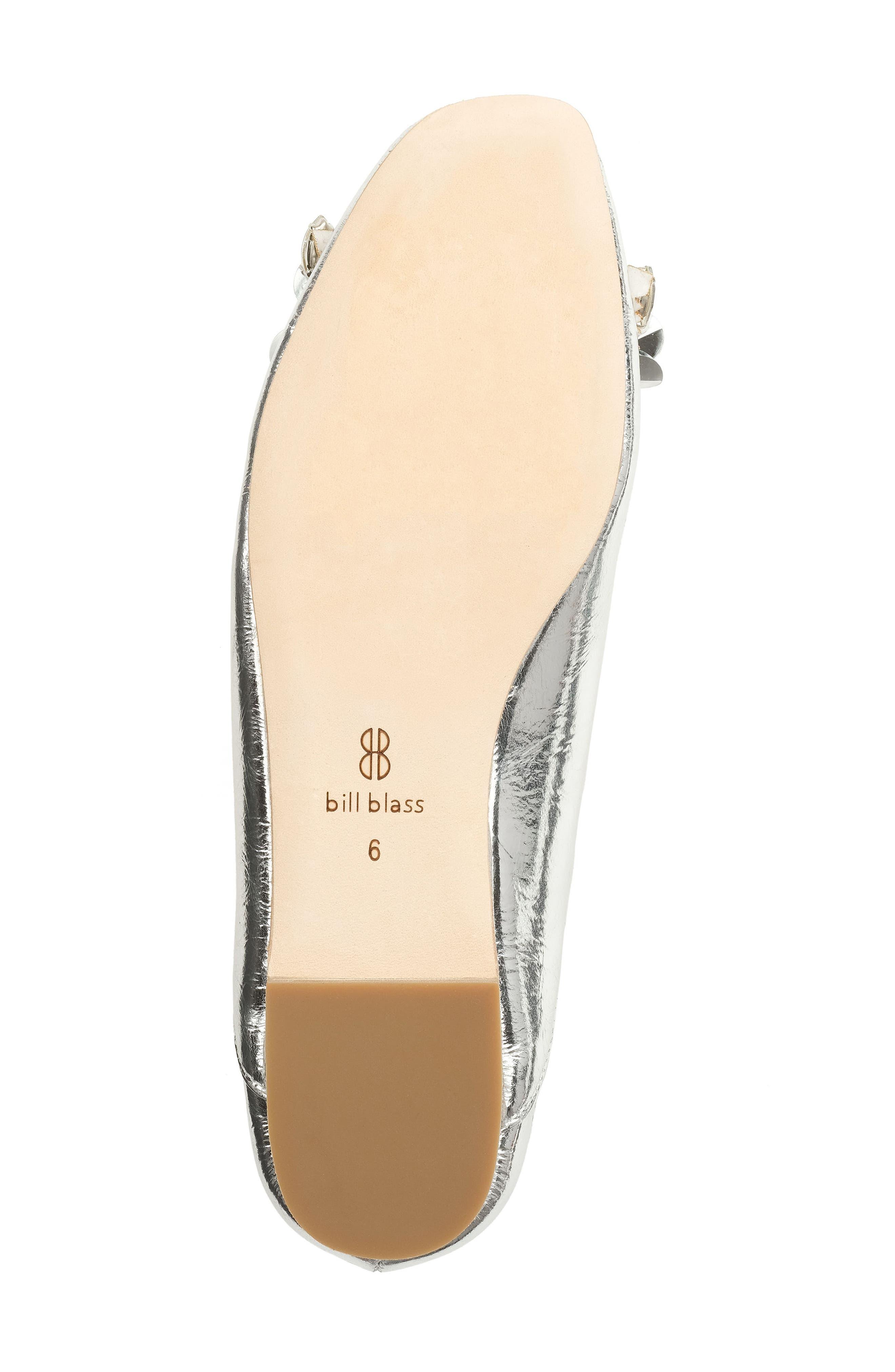 Aurey Embellished Ballet Flat,                             Alternate thumbnail 5, color,                             Silver Foil