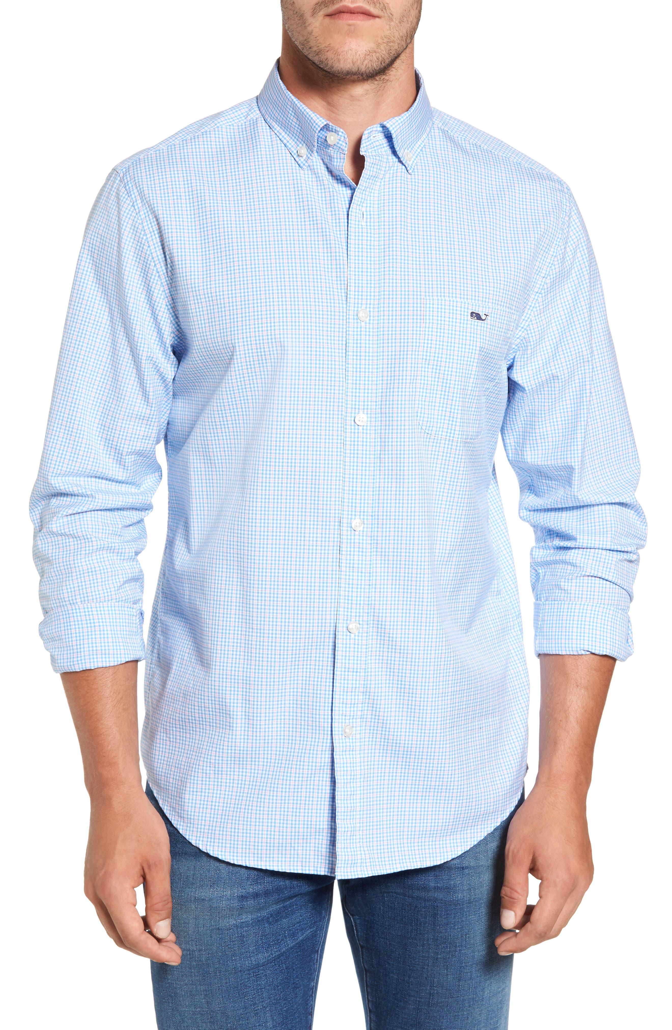 Stowaway Plaid Tucker Classic Fit Sport Shirt,                         Main,                         color, Ocean Breeze