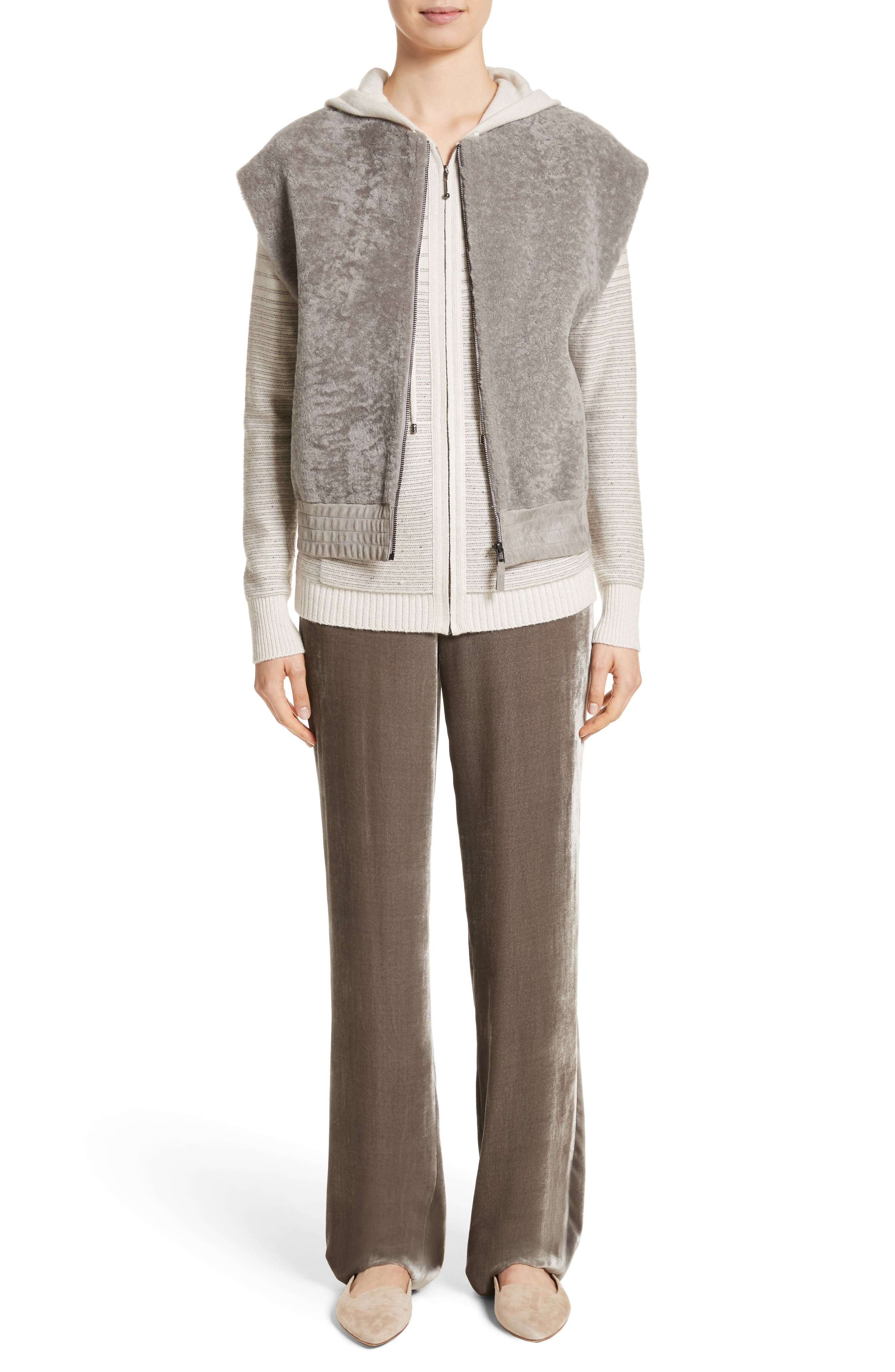 Genuine Shearling Vest,                             Alternate thumbnail 6, color,                             Travertine