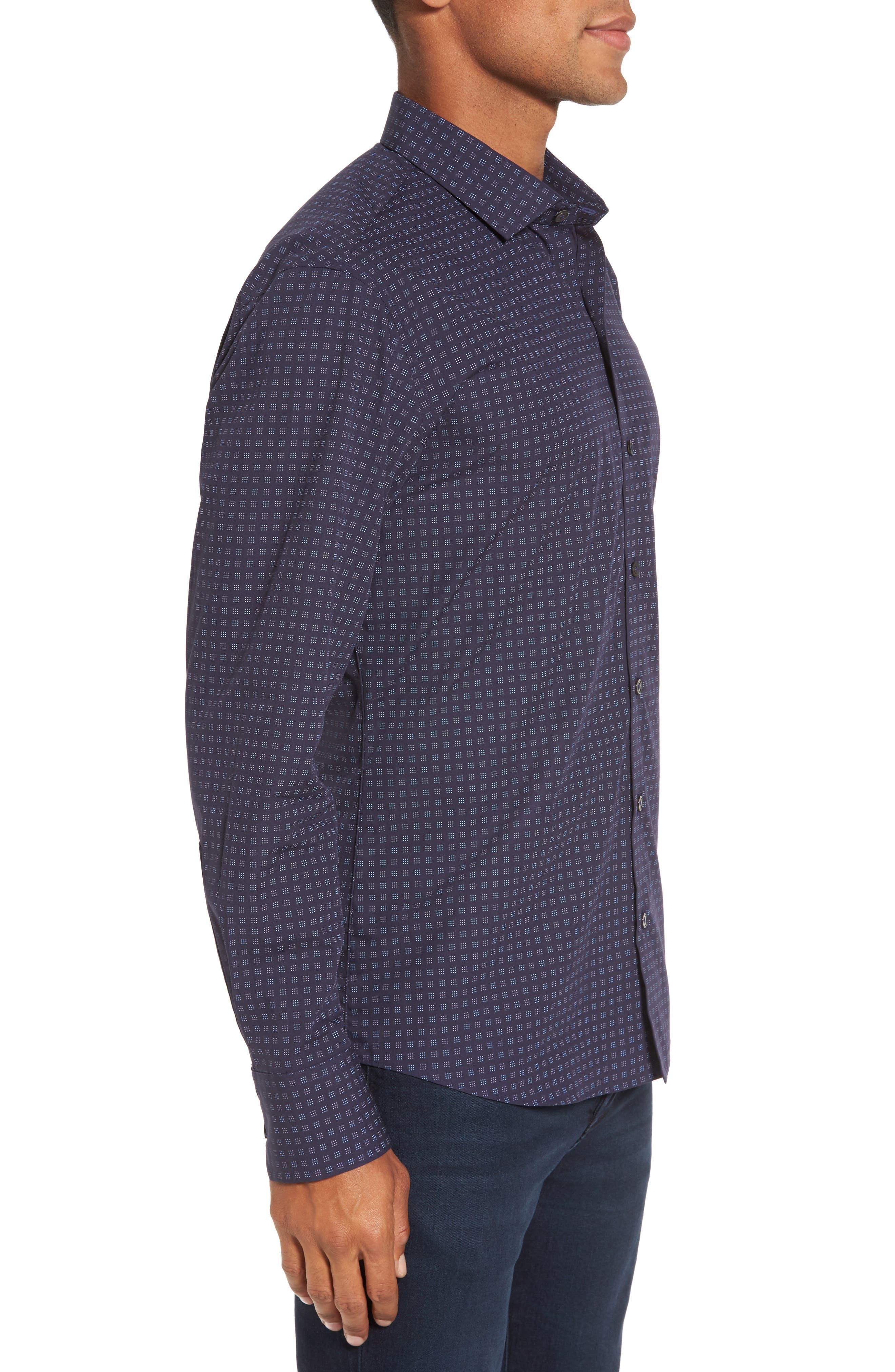 Maison Slim Fit Print Sport Shirt,                             Alternate thumbnail 3, color,                             Navy