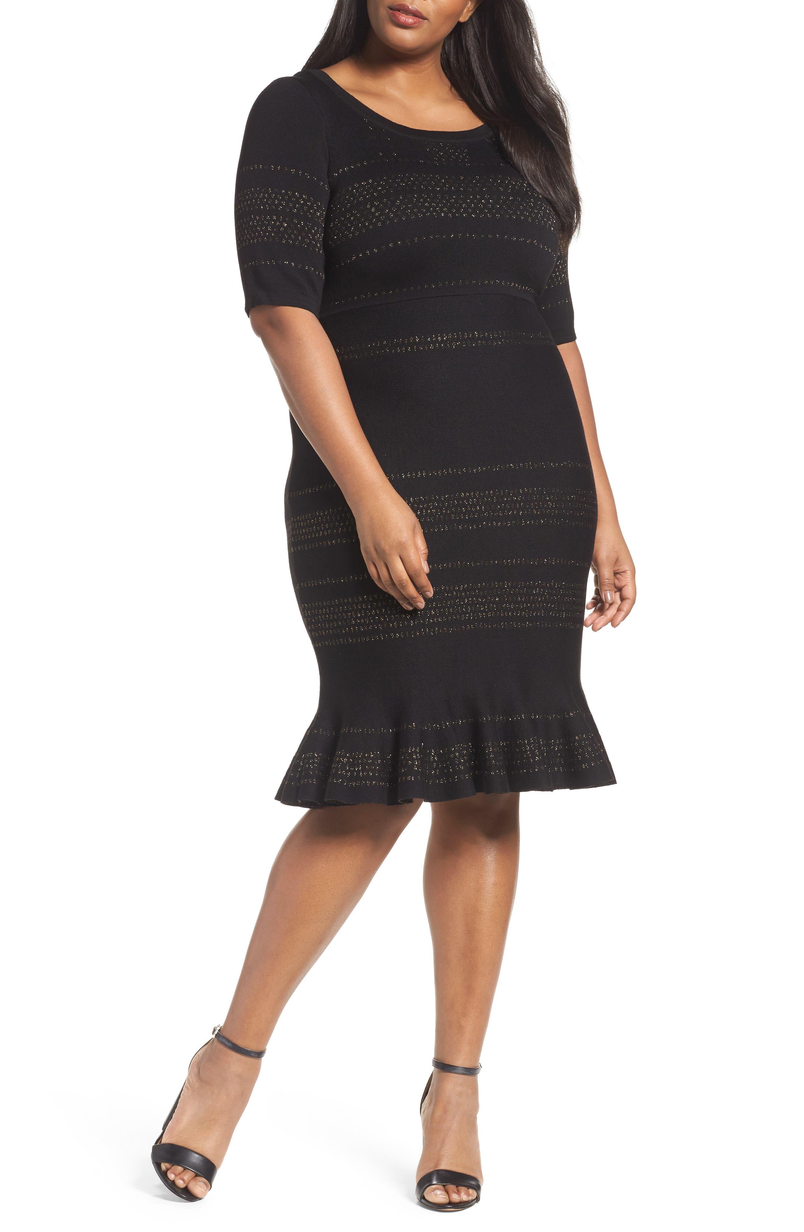 Alternate Image 1 Selected - Taylor Dresses Metallic Knit Dress (Plus Size)