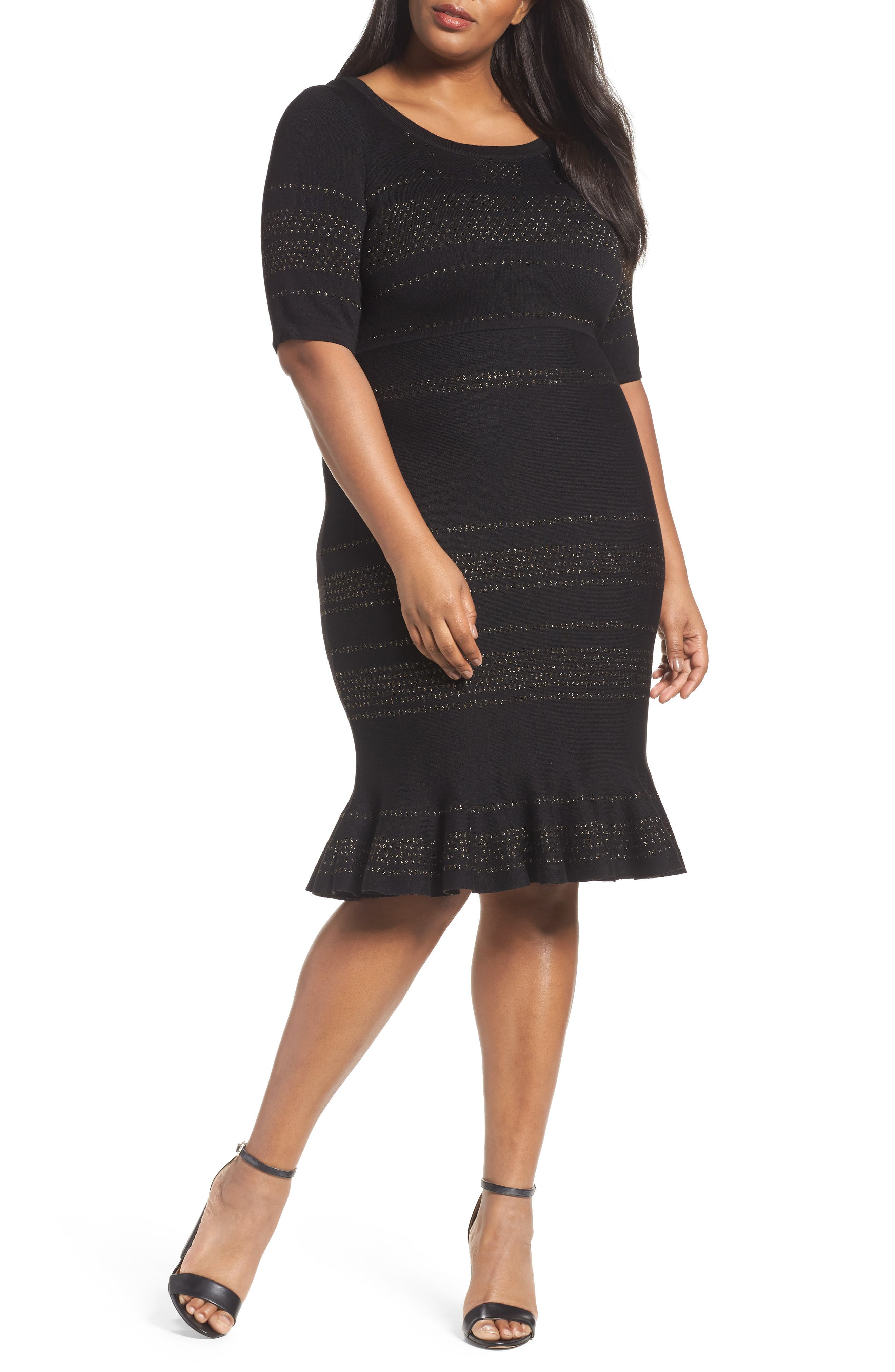 Main Image - Taylor Dresses Metallic Knit Dress (Plus Size)