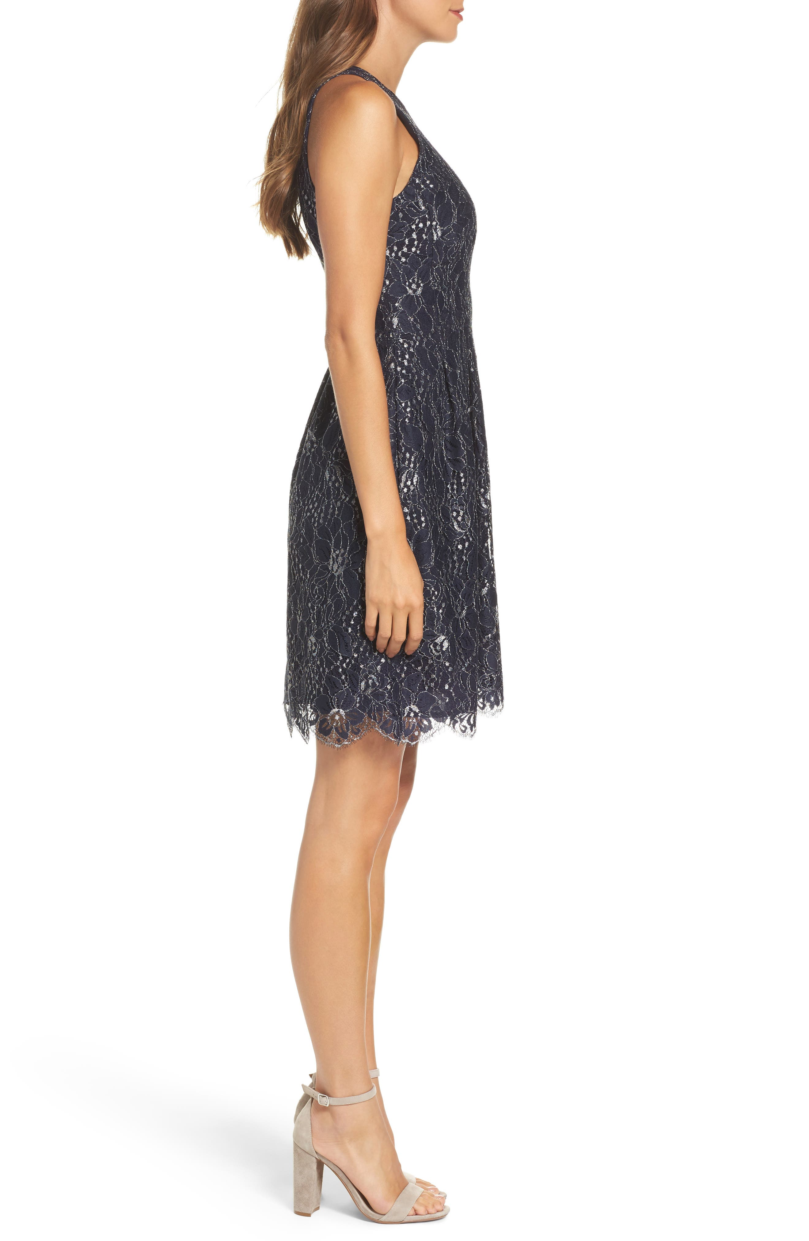 Alternate Image 3  - Vince Camuto Metallic Lace Fit & Flare Dress
