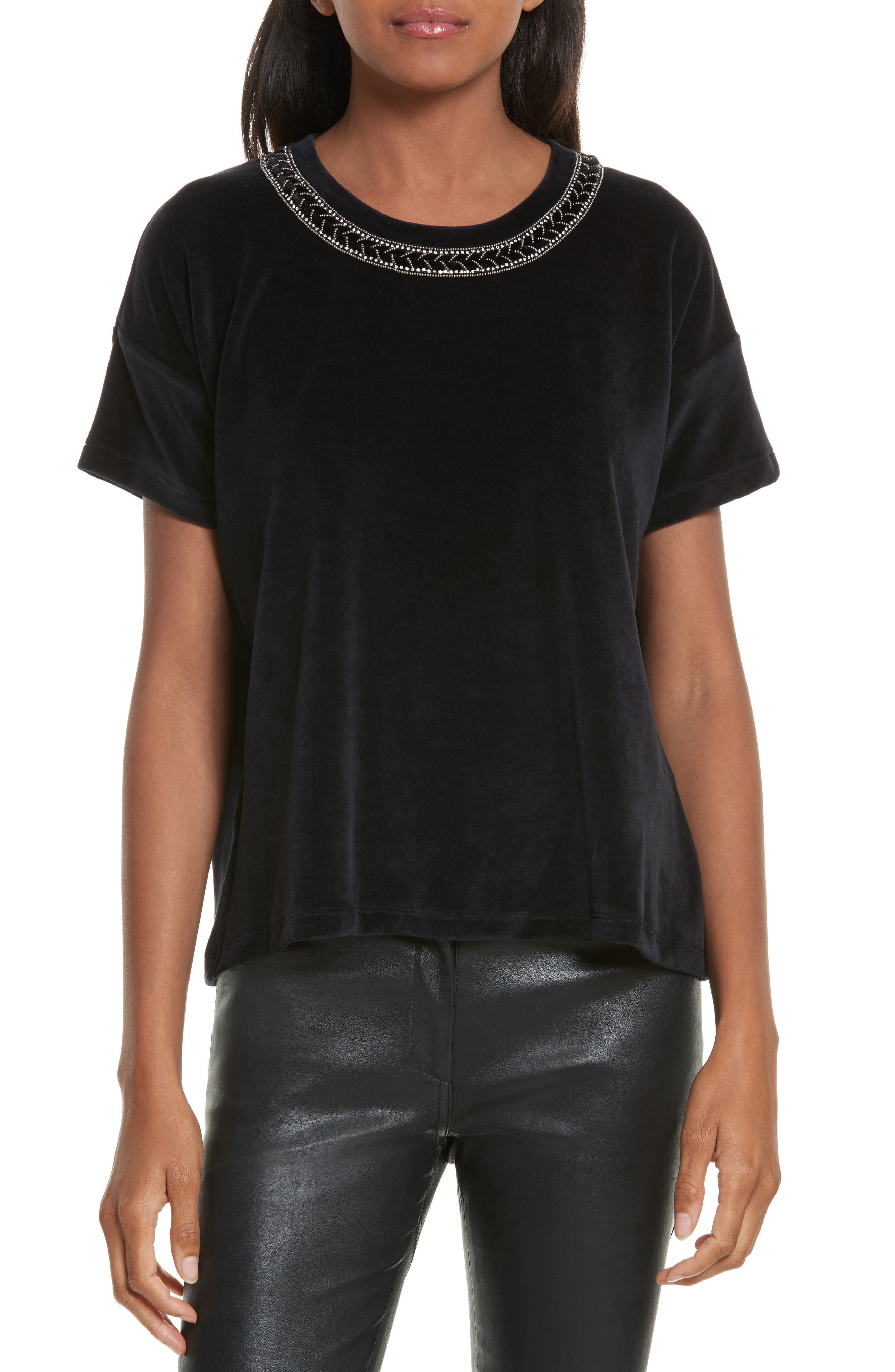 The Kooples Jewel Trim Velvet Tee