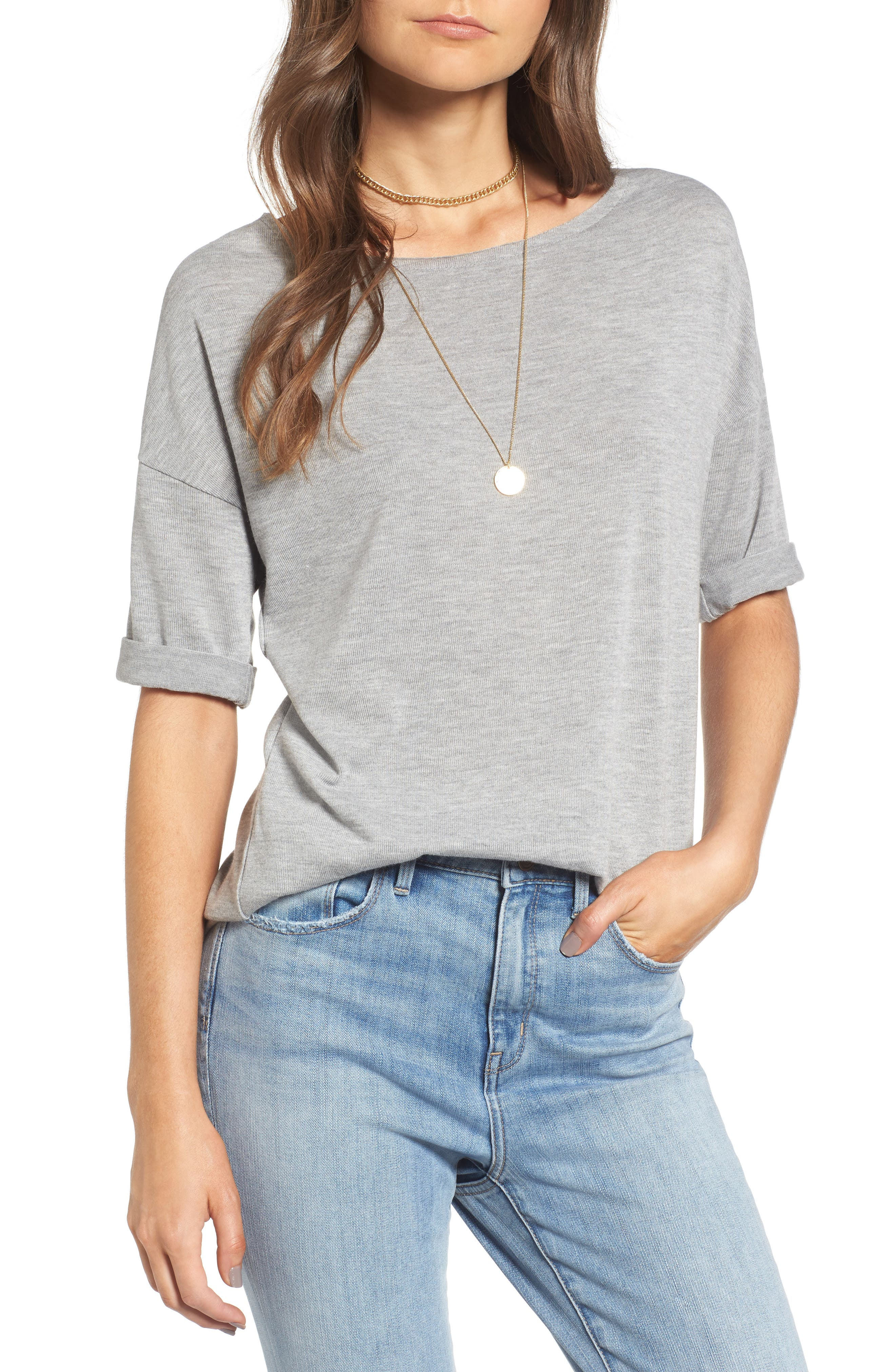 x Something Navy Easy Tee,                             Main thumbnail 1, color,                             Grey Heather