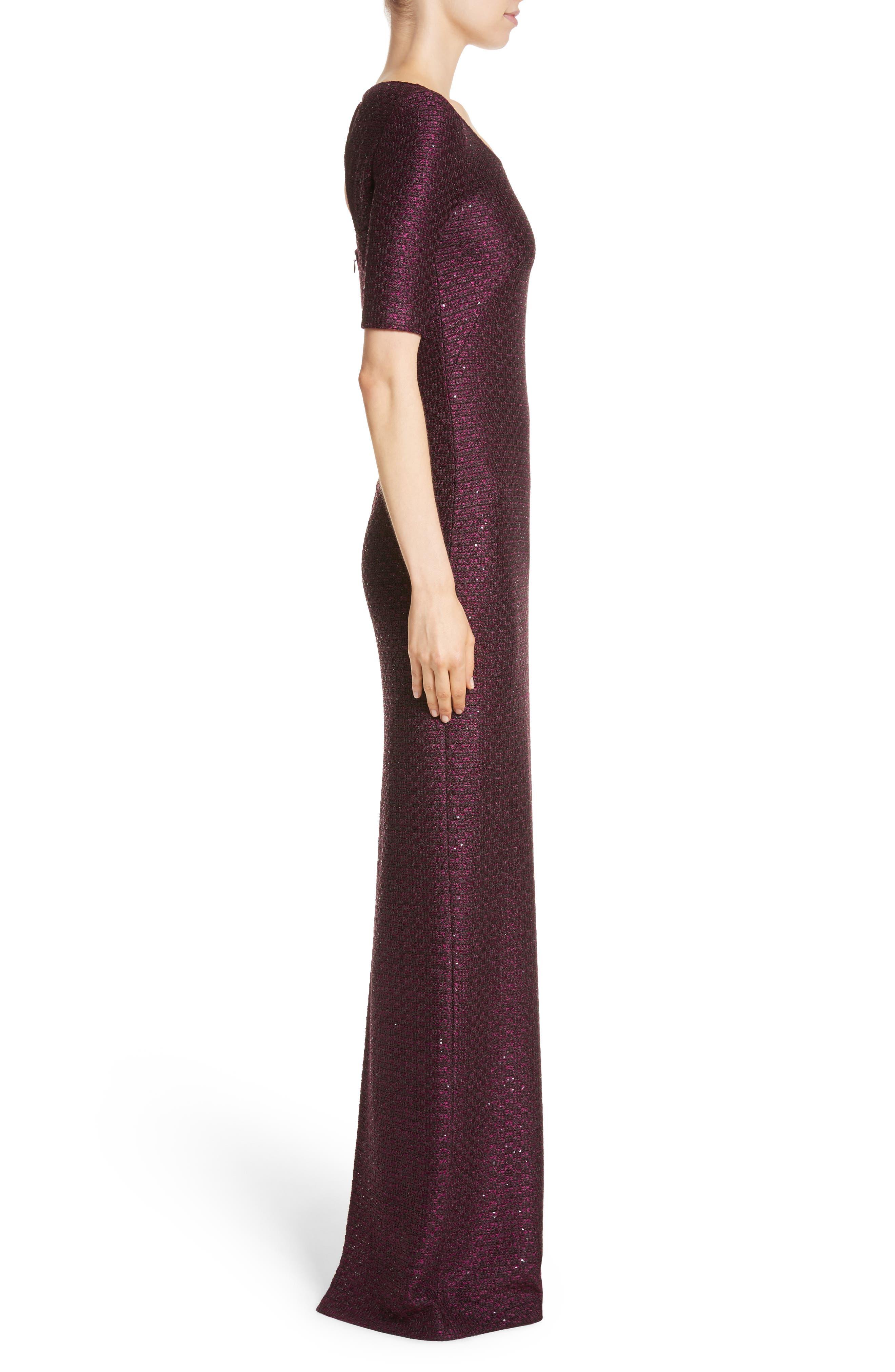 Scooped Neck Hansh Knit Column Gown,                             Alternate thumbnail 3, color,                             Currant Multi