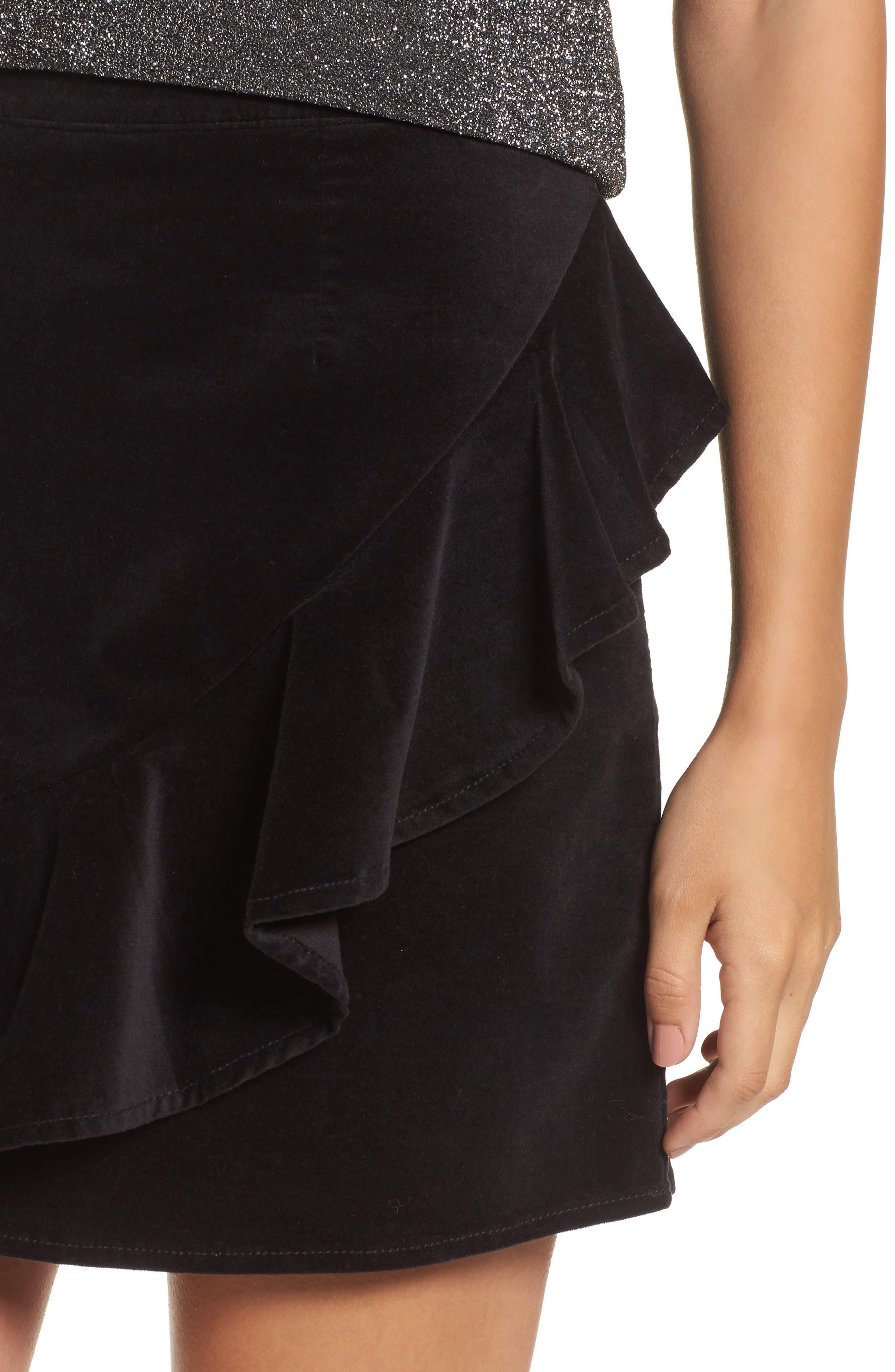 Ruffle Trim Velvet Skirt,                             Alternate thumbnail 4, color,                             Black