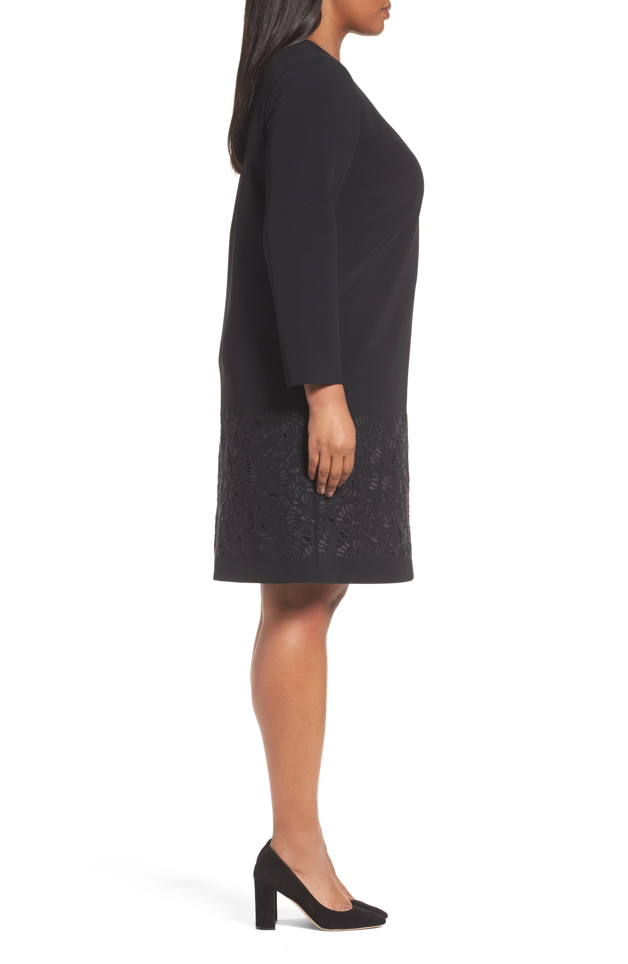 Corbin Laser Cut Dress,                             Alternate thumbnail 3, color,                             Black