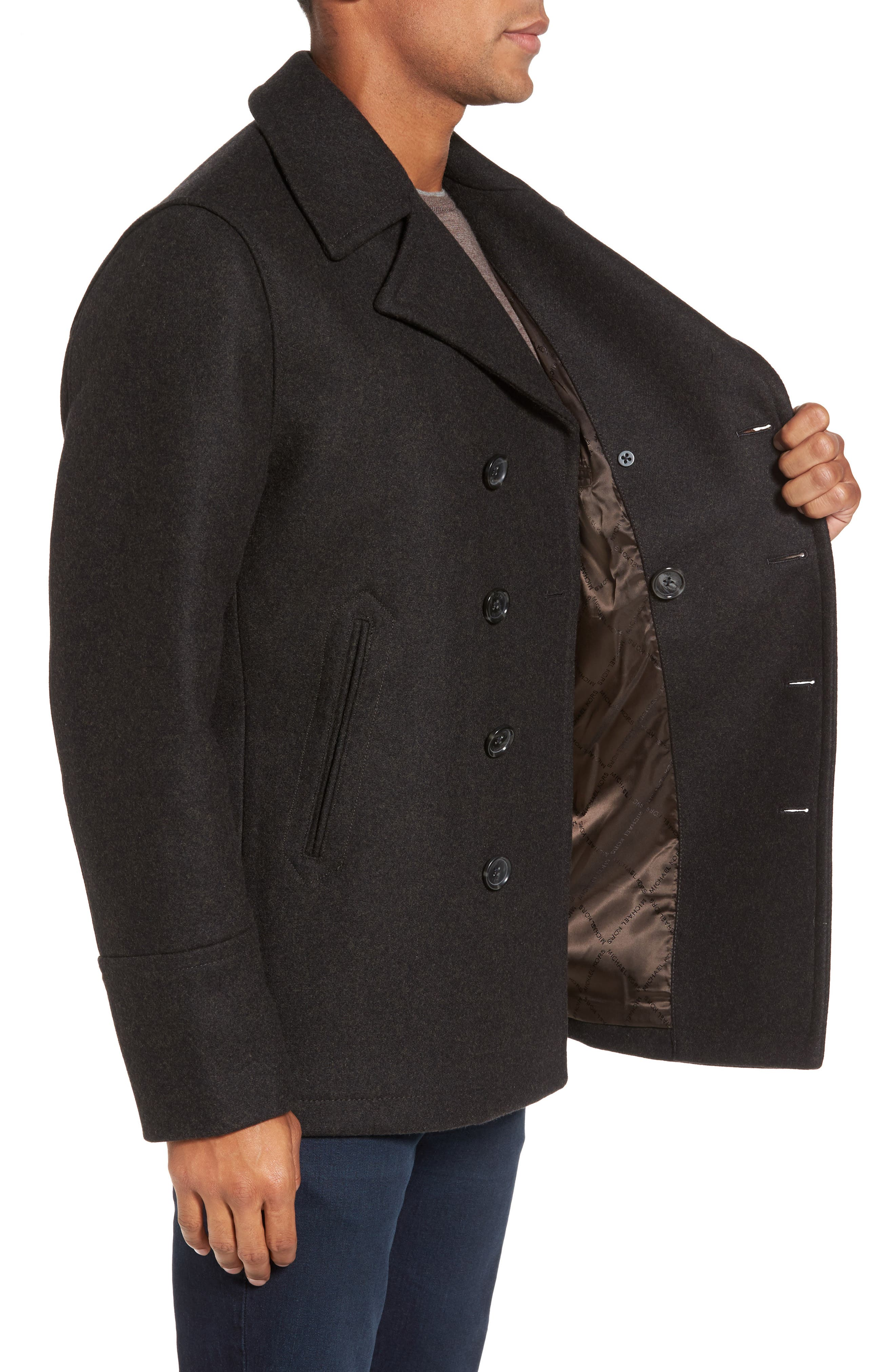Wool Blend Peacoat,                             Alternate thumbnail 3, color,                             Loden Heather