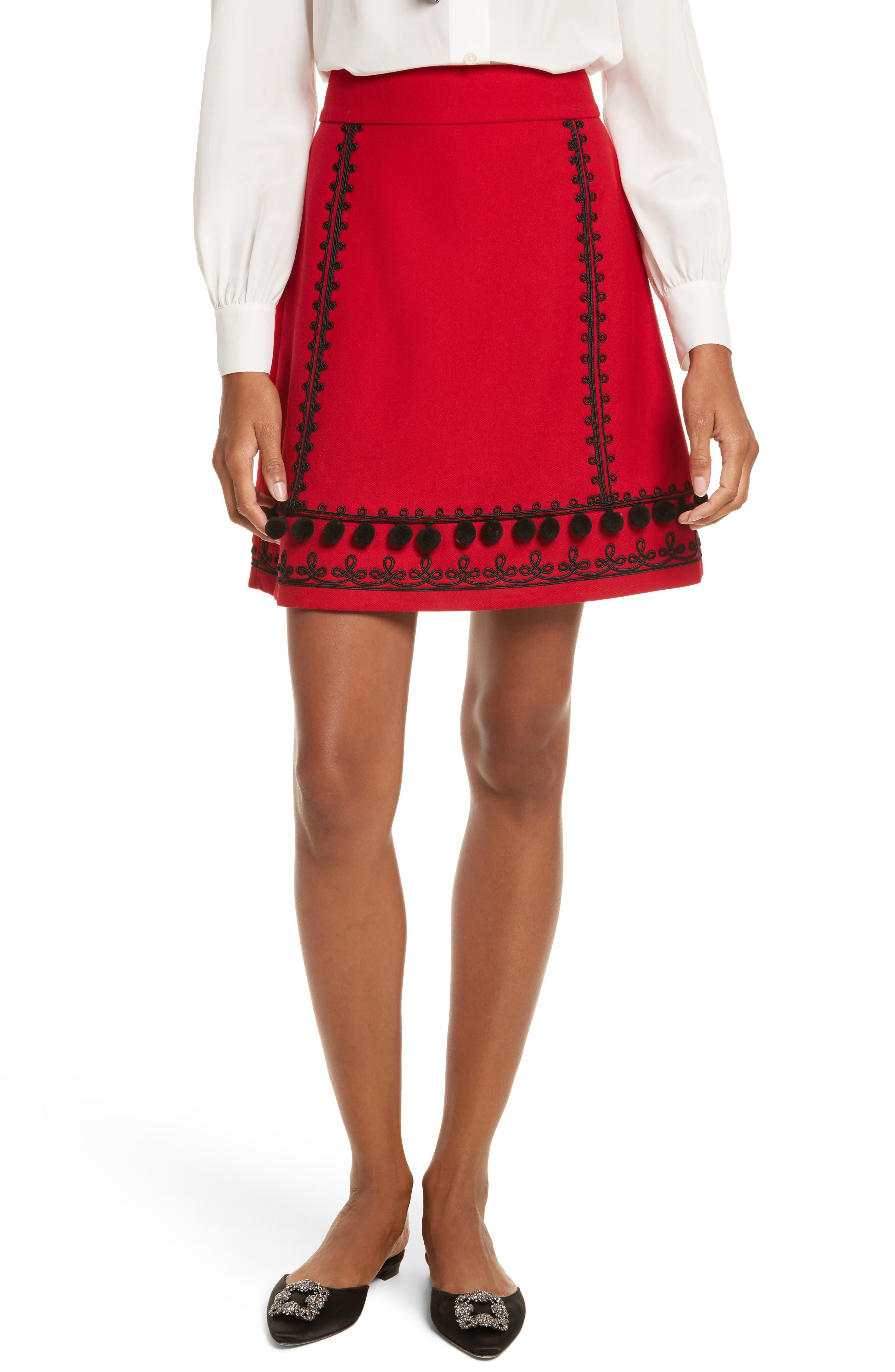 kate spade new york pom embroidered skirt