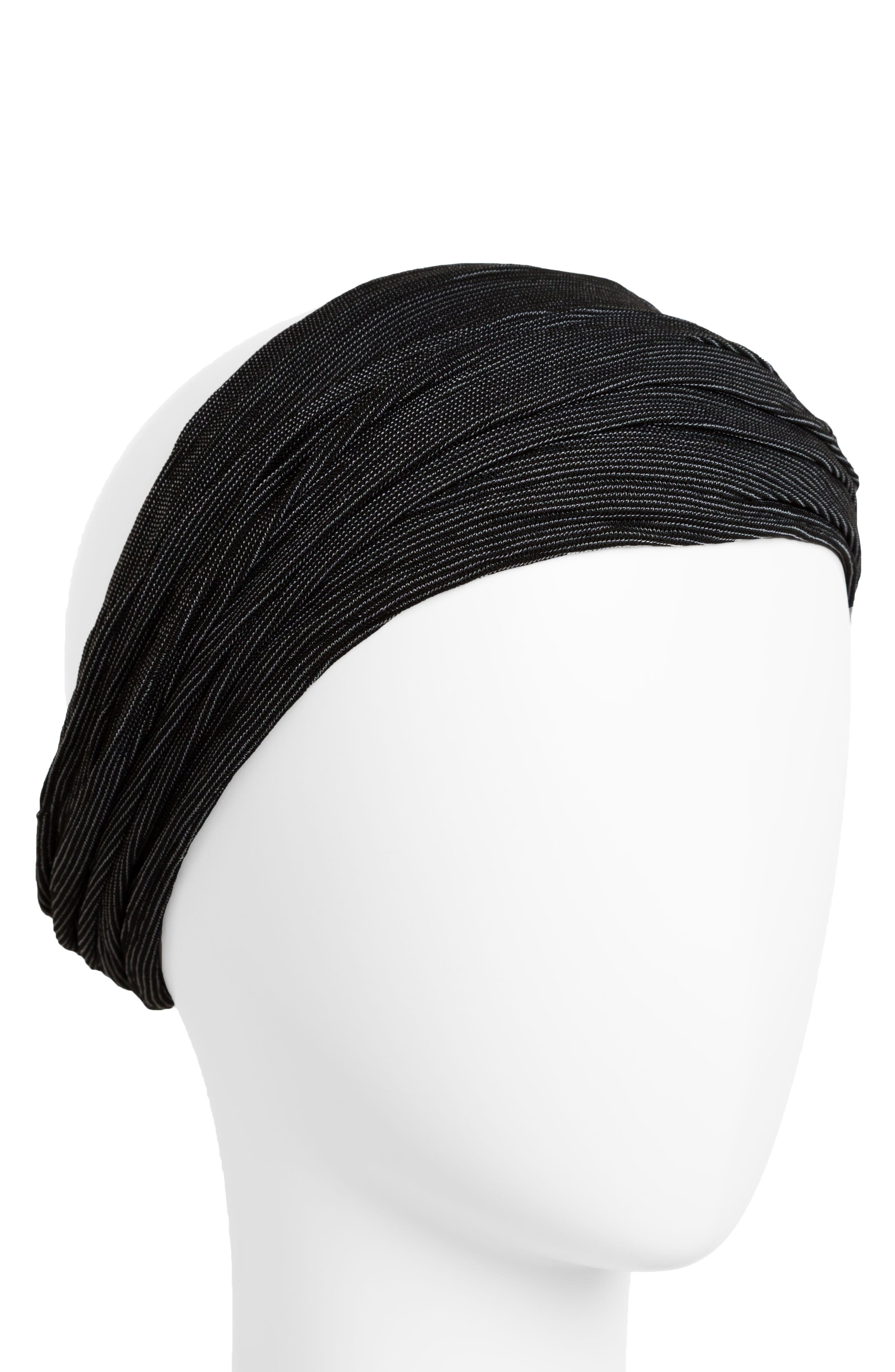Space Dye Relaxed Turban Head Wrap,                         Main,                         color, Black
