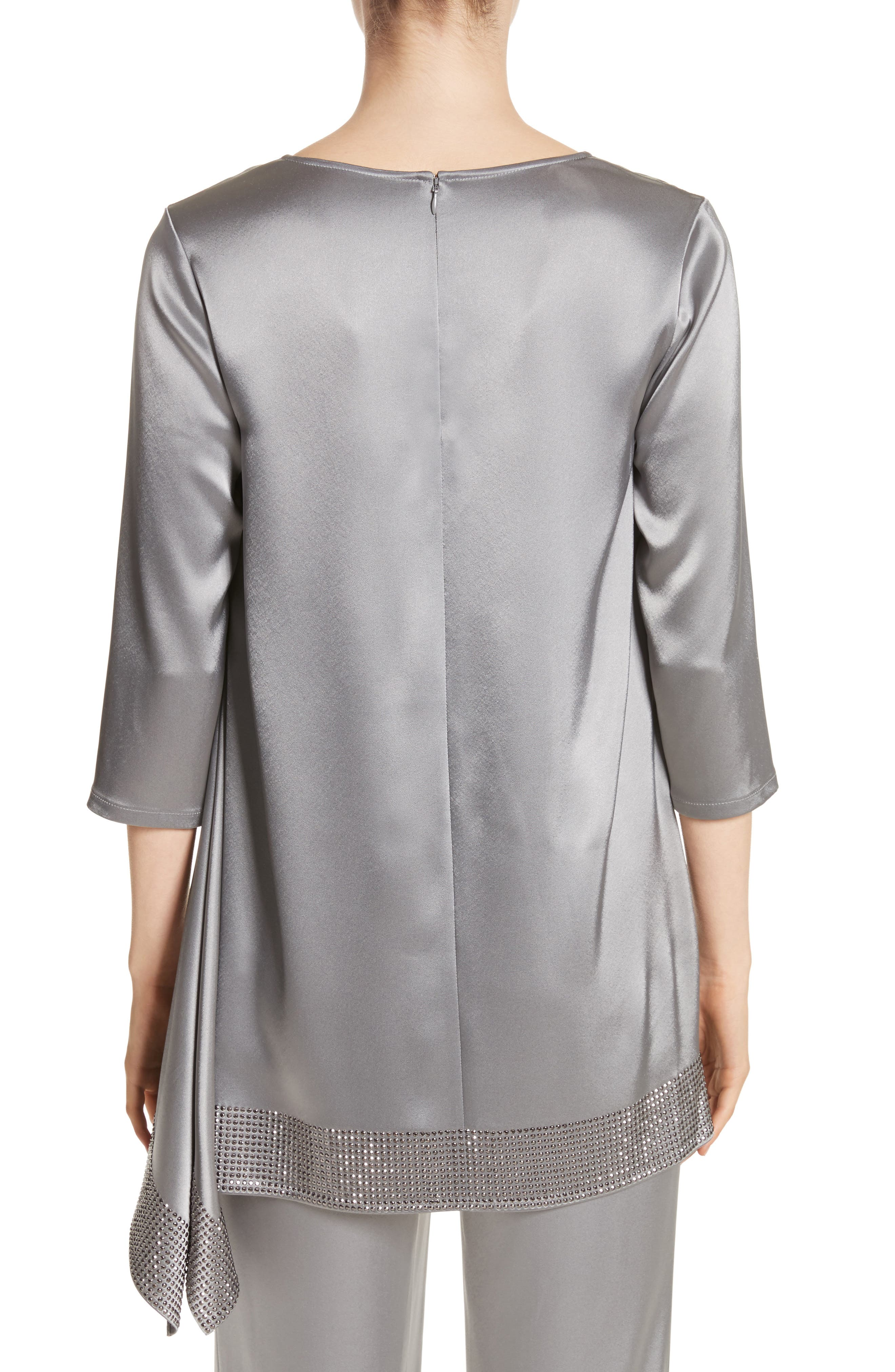Alternate Image 2  - St. John Collection Liquid Satin Asymmetrical Top