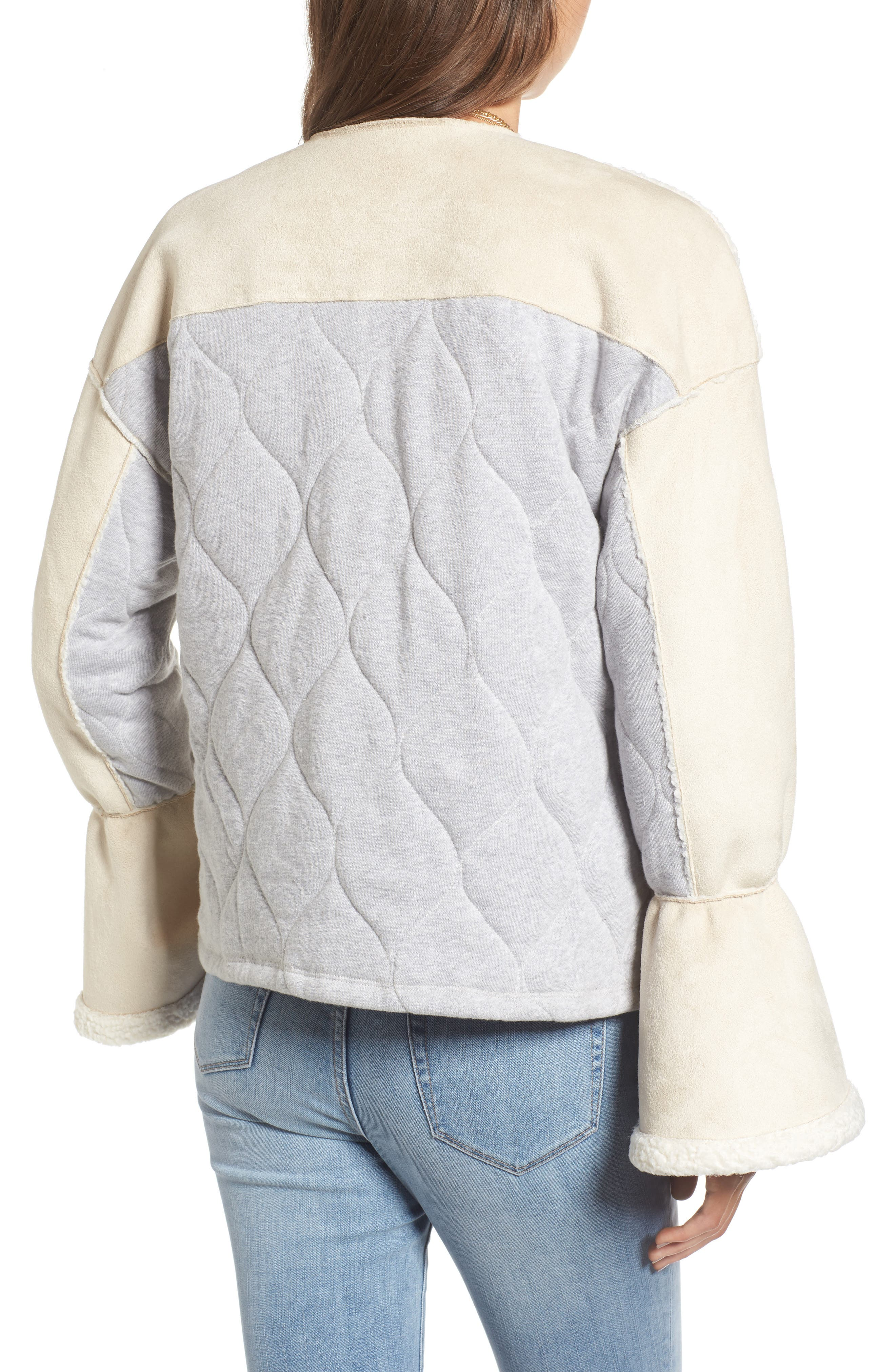 x Something Navy Bell Sleeve Faux Shearling Jacket,                             Alternate thumbnail 3, color,                             Ivory Combo