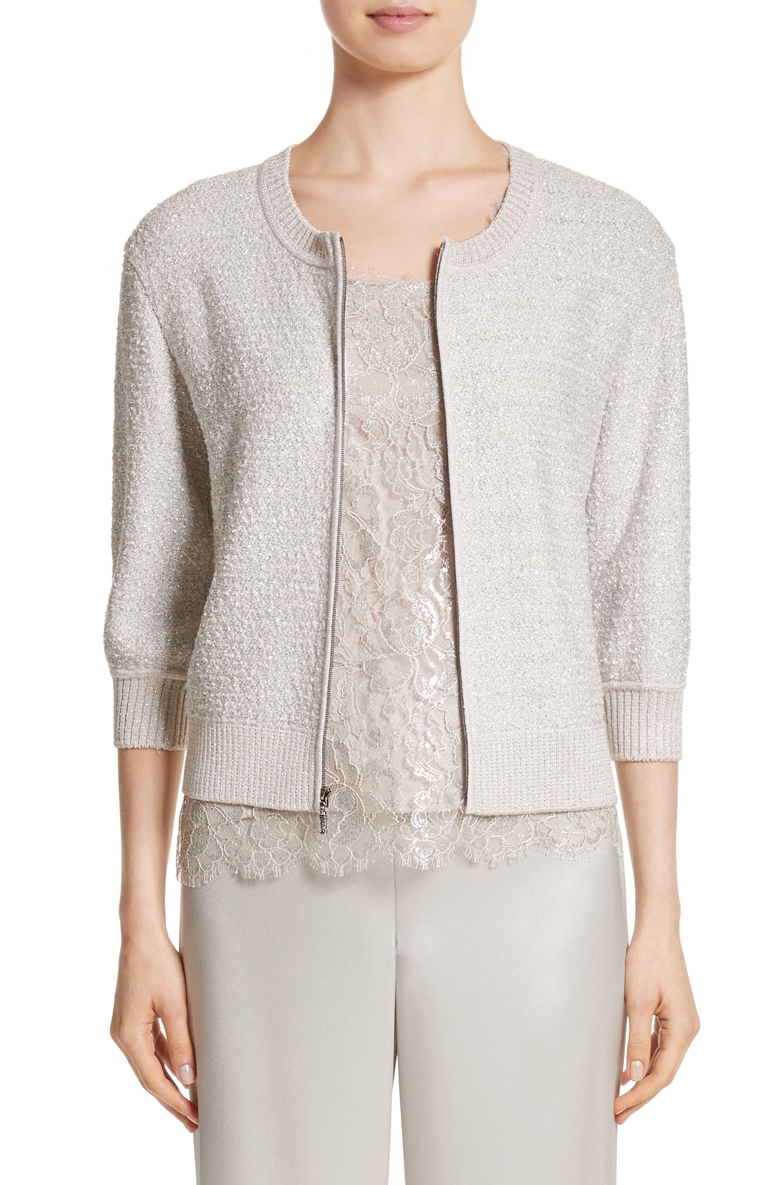 Metallic Eyelash Knit Jacket,                             Main thumbnail 1, color,                             Silver Multi