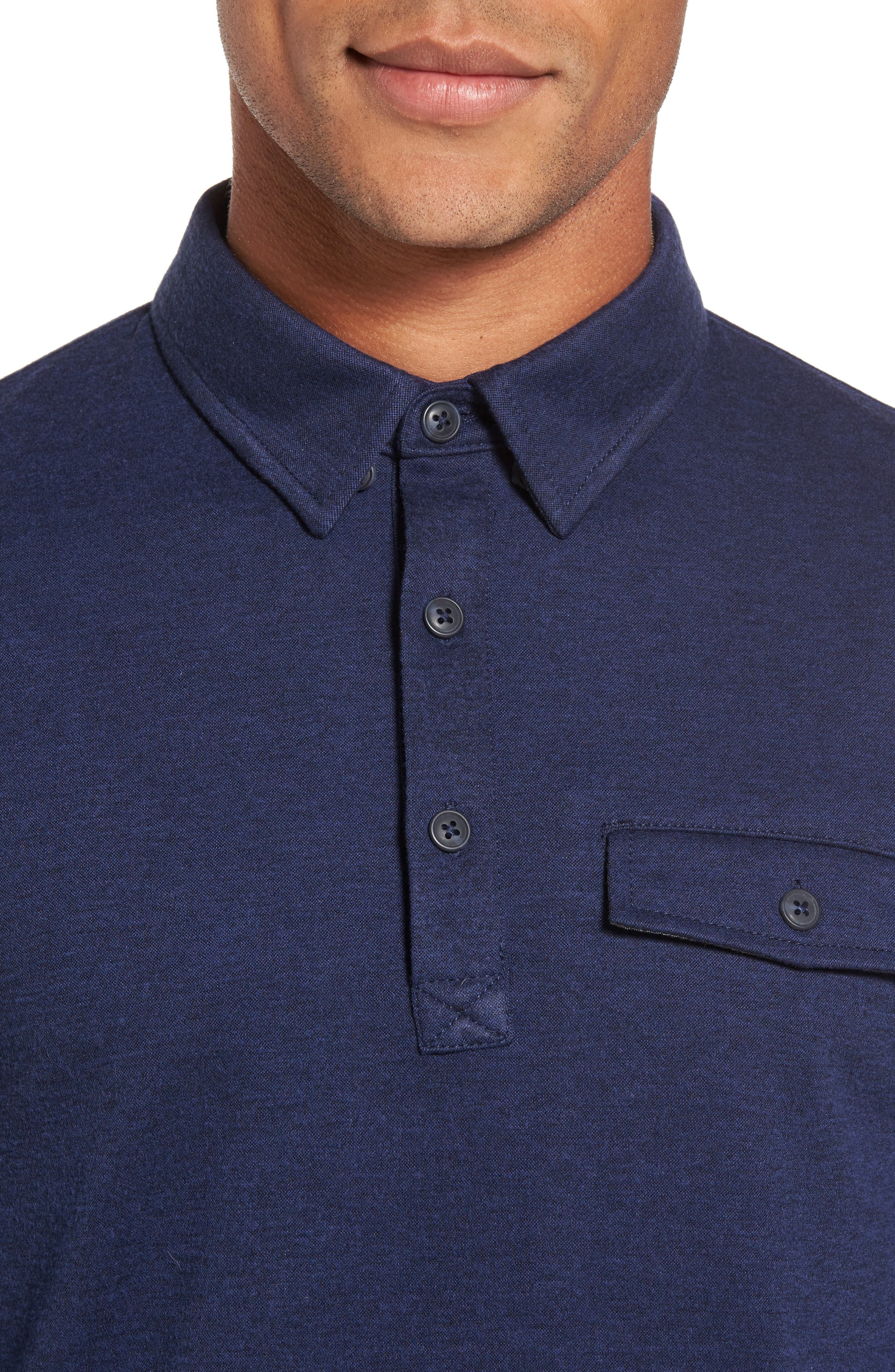 Long Sleeve Polo,                             Alternate thumbnail 4, color,                             Navy