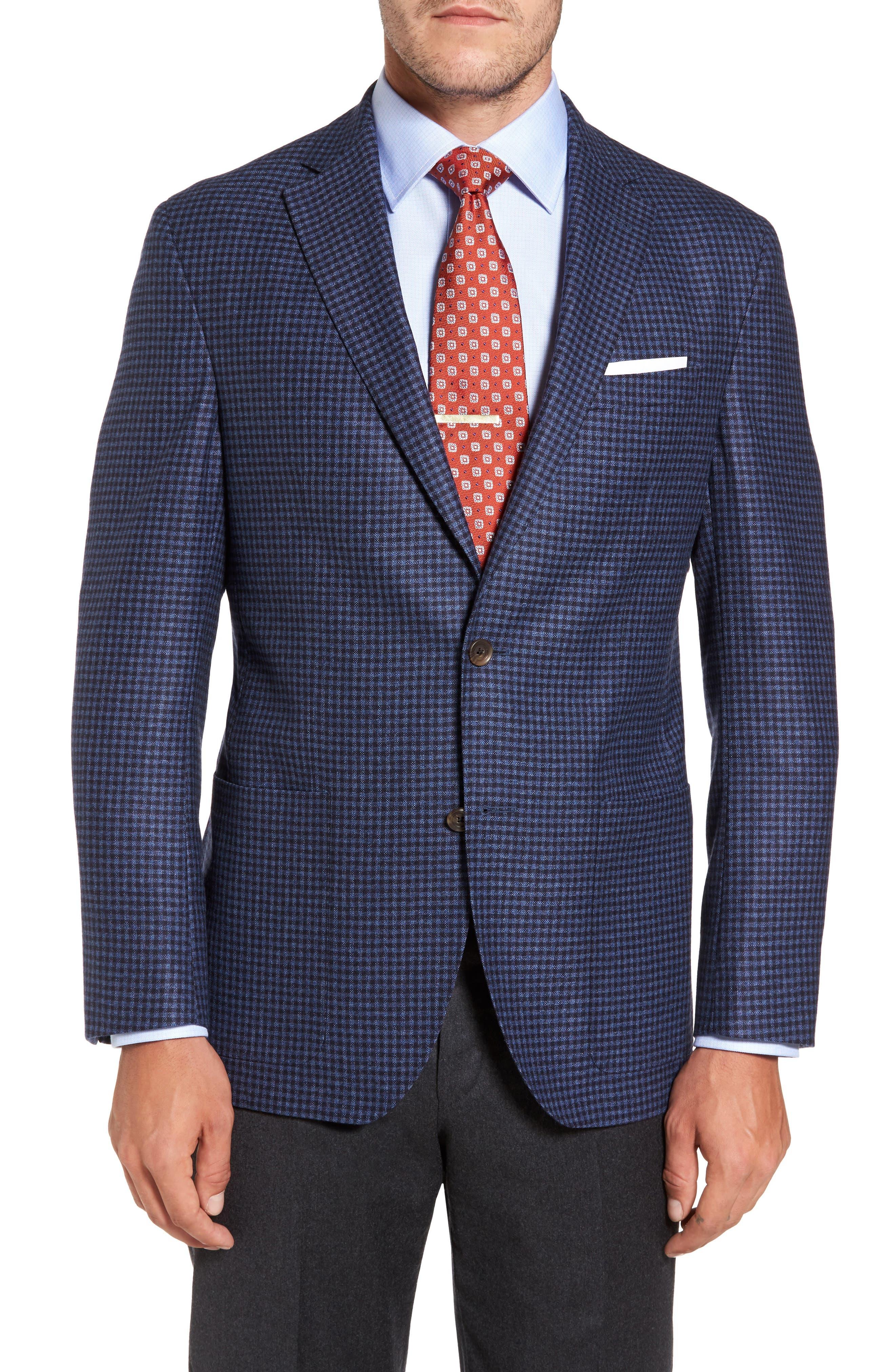 Aiden Classic Fit Check Wool & Cashmere Sport Coat,                         Main,                         color, Medium Blue