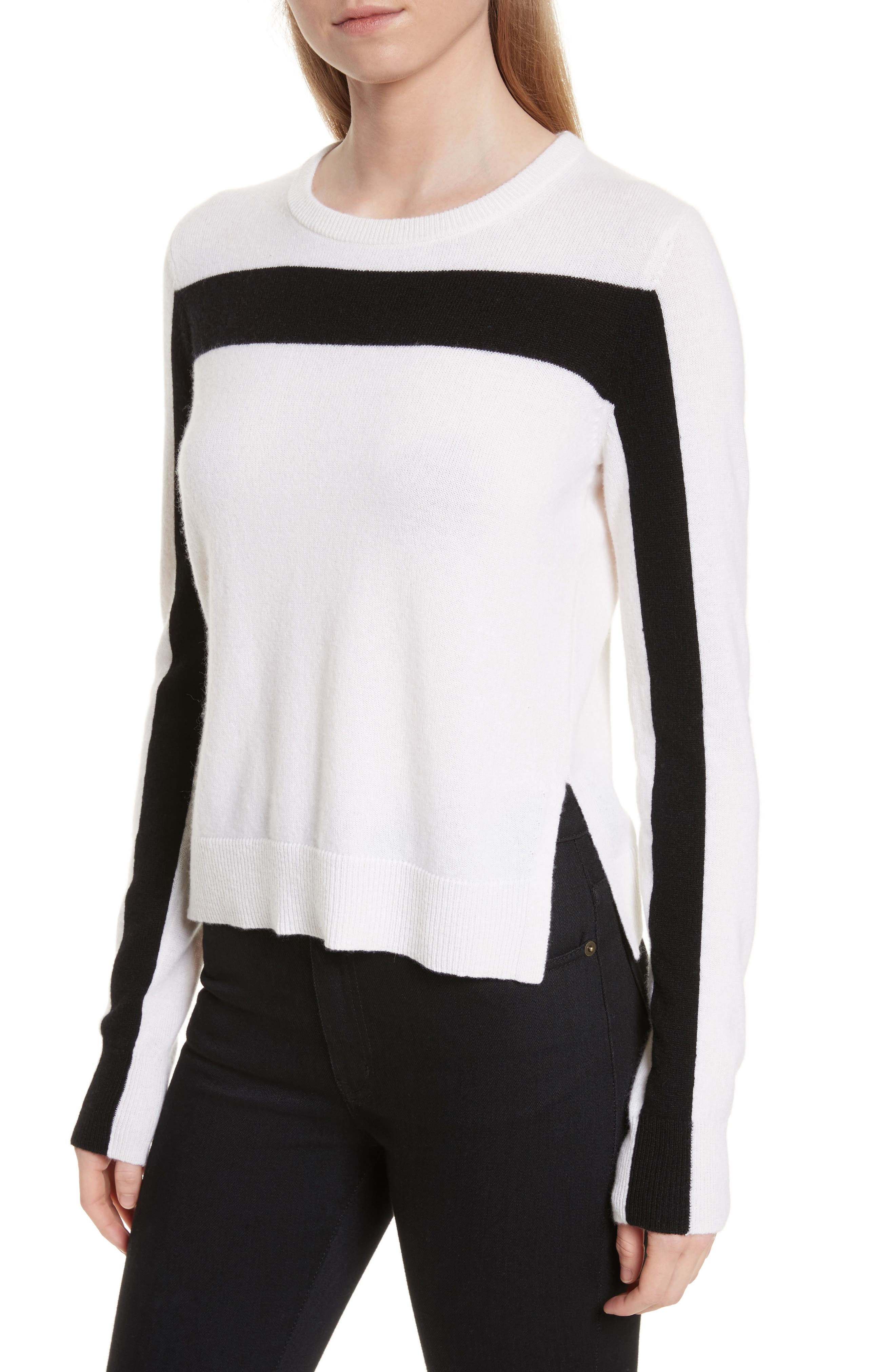 Shirley Cashmere Sweater,                             Alternate thumbnail 4, color,                             Ivory/ Black