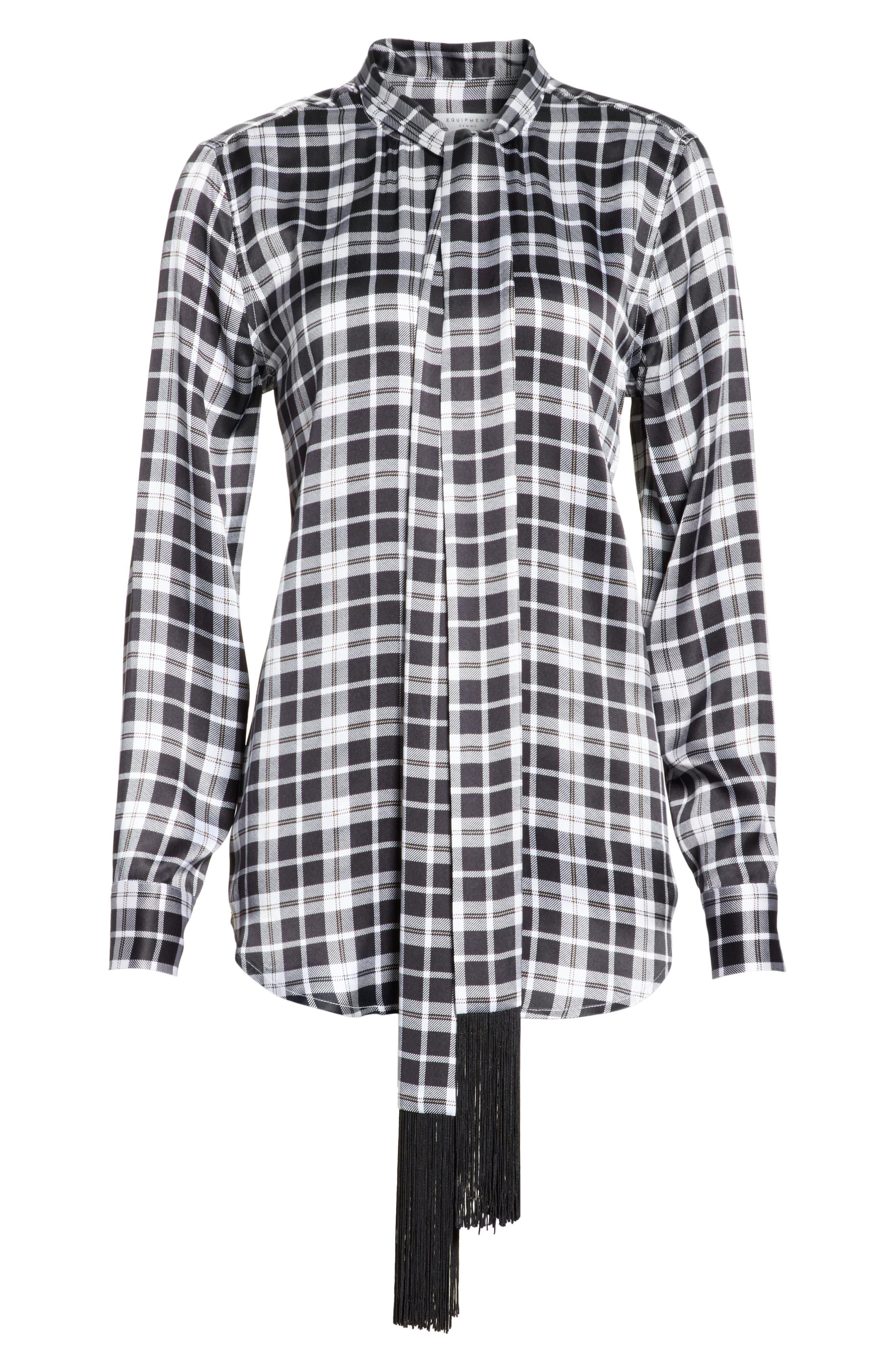 Essential Tie Neck Silk Shirt,                             Alternate thumbnail 6, color,                             Bright White-Palo Sa
