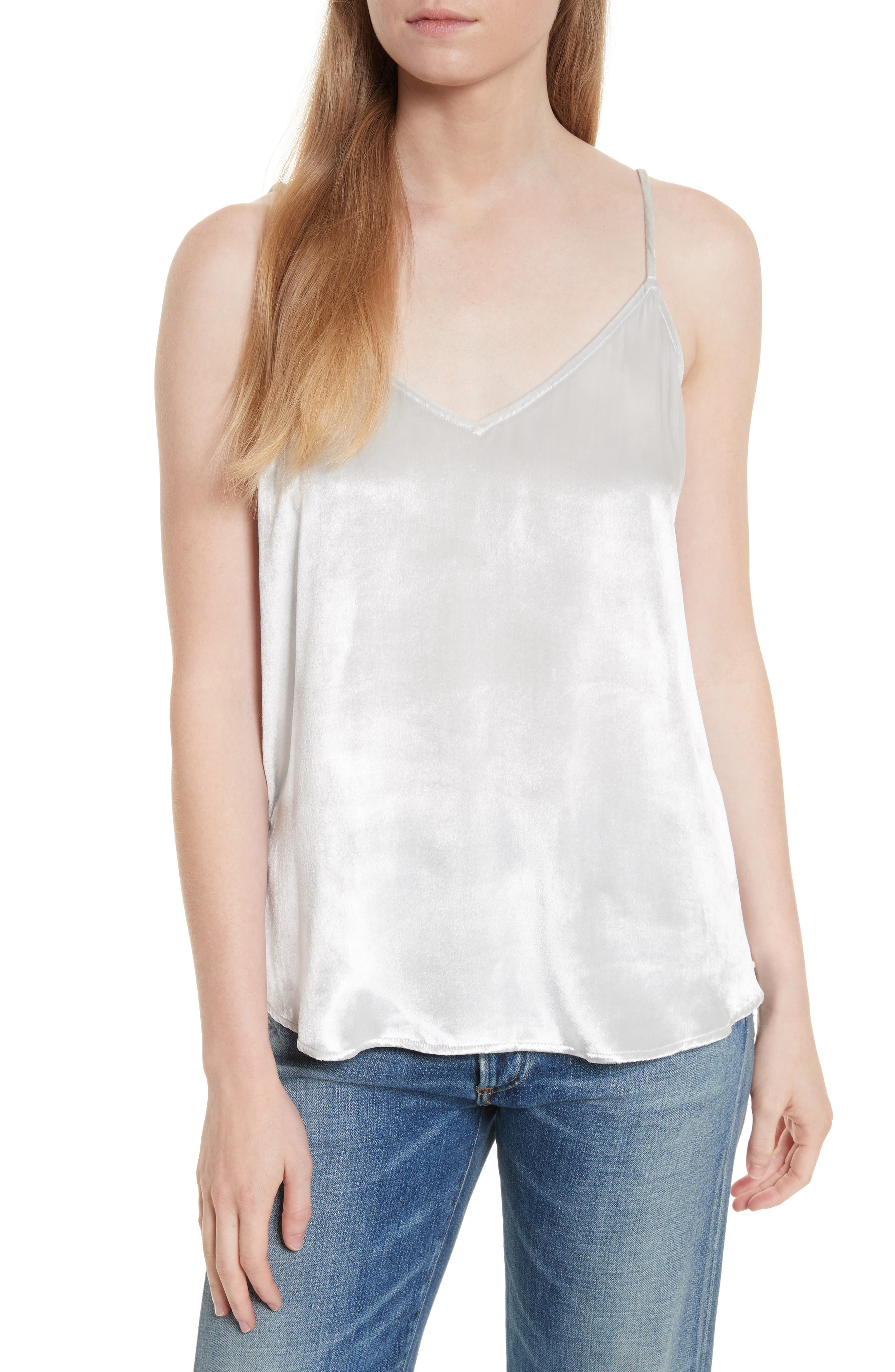 Layla Velvet Camisole,                         Main,                         color, Mineral Grey