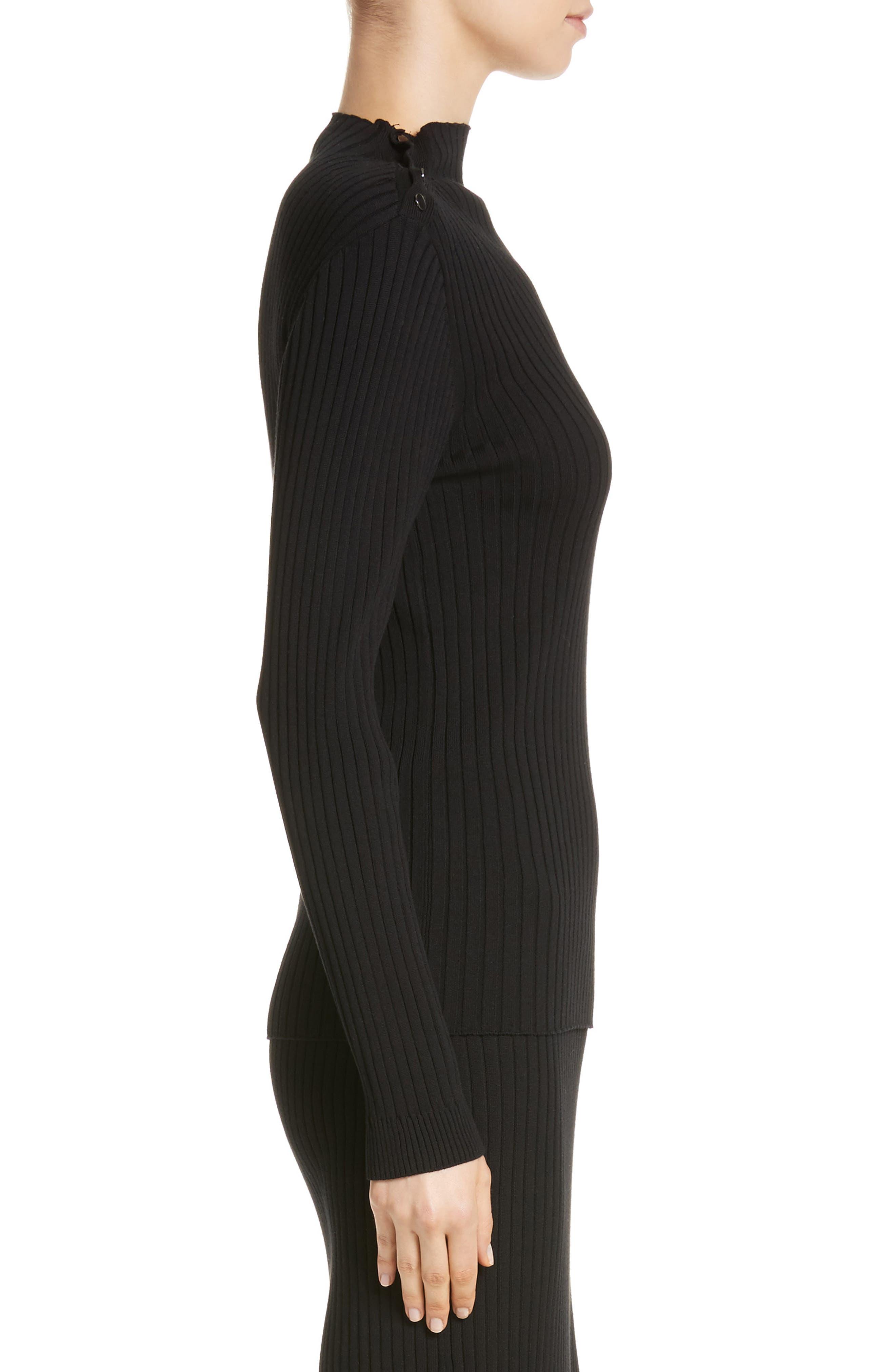 Flat Rib Knit Mock Neck Sweater,                             Alternate thumbnail 3, color,                             Caviar