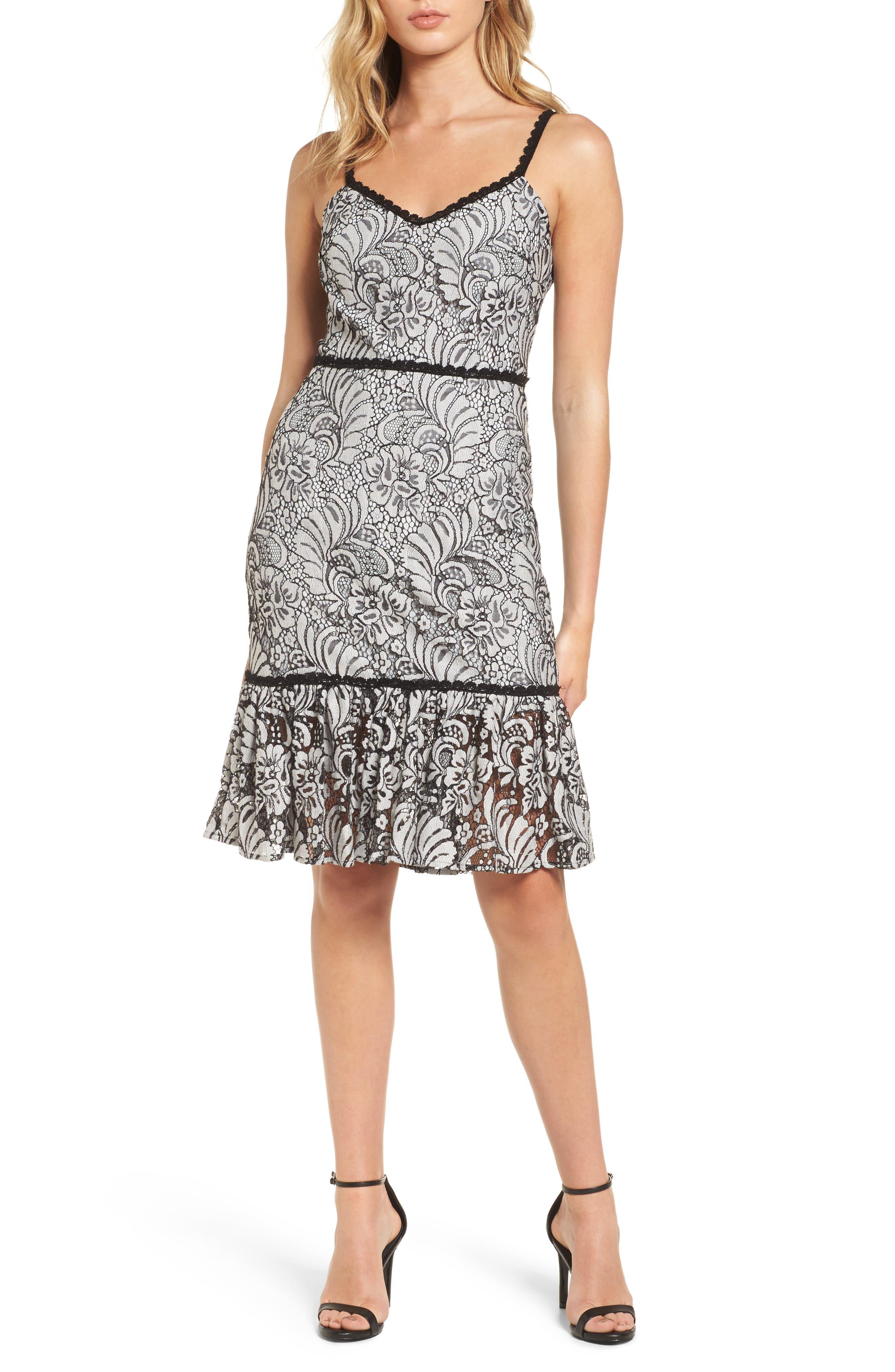 Sue Lace Dress,                         Main,                         color, Ivory/ Black
