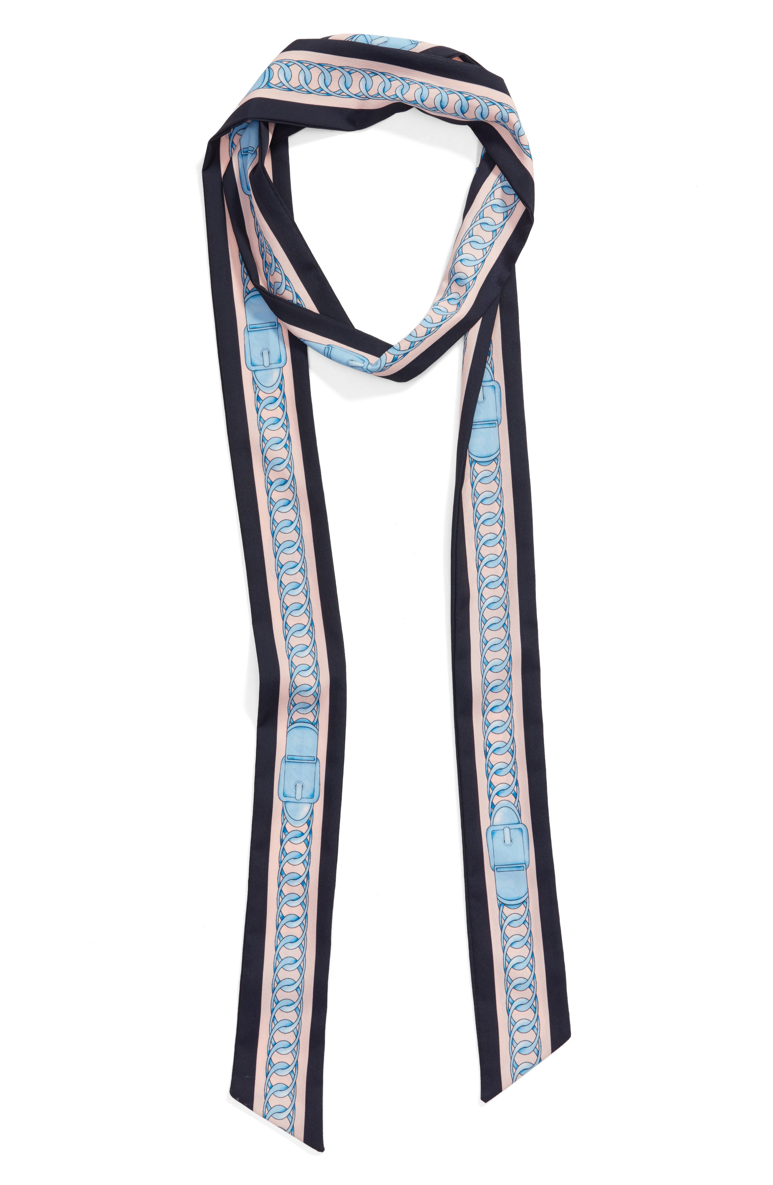 Chain Print Skinny Scarf,                             Alternate thumbnail 3, color,                             Navy/ Pink
