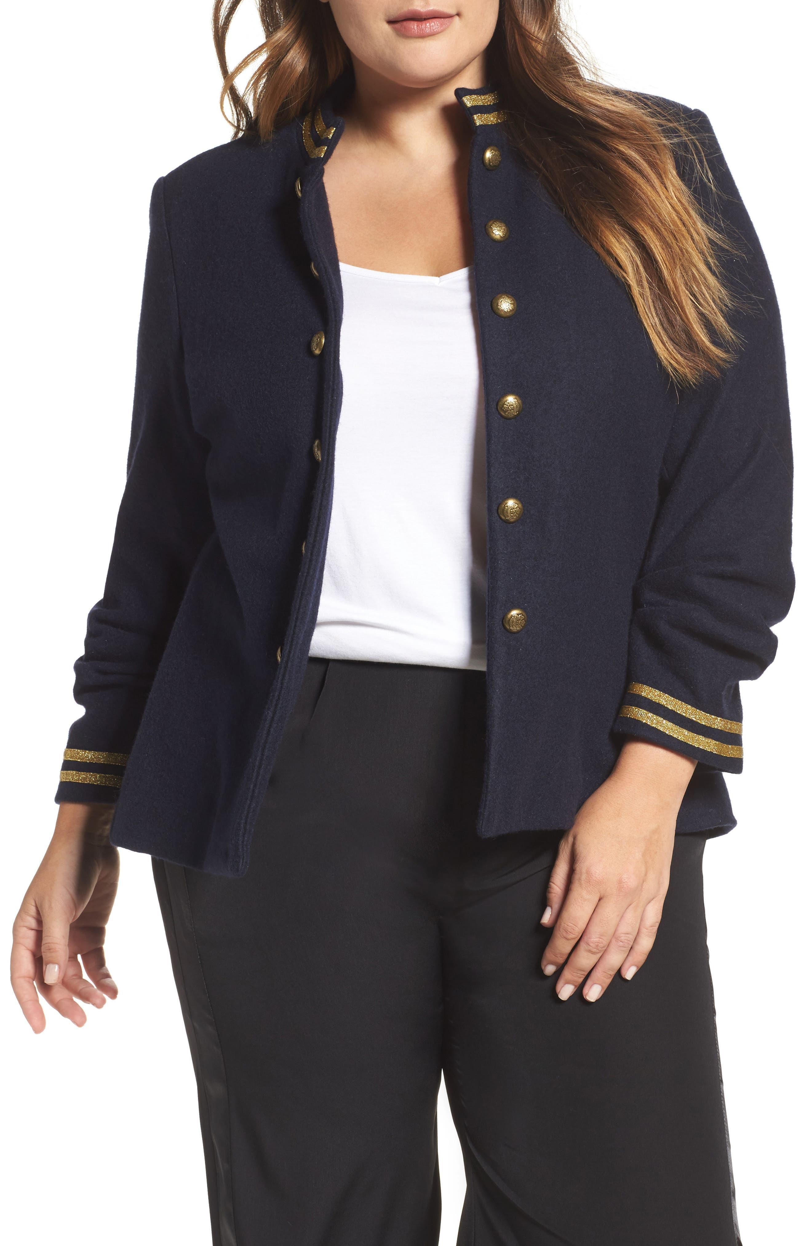 ELVI Stand Collar Jacket (Plus Size)