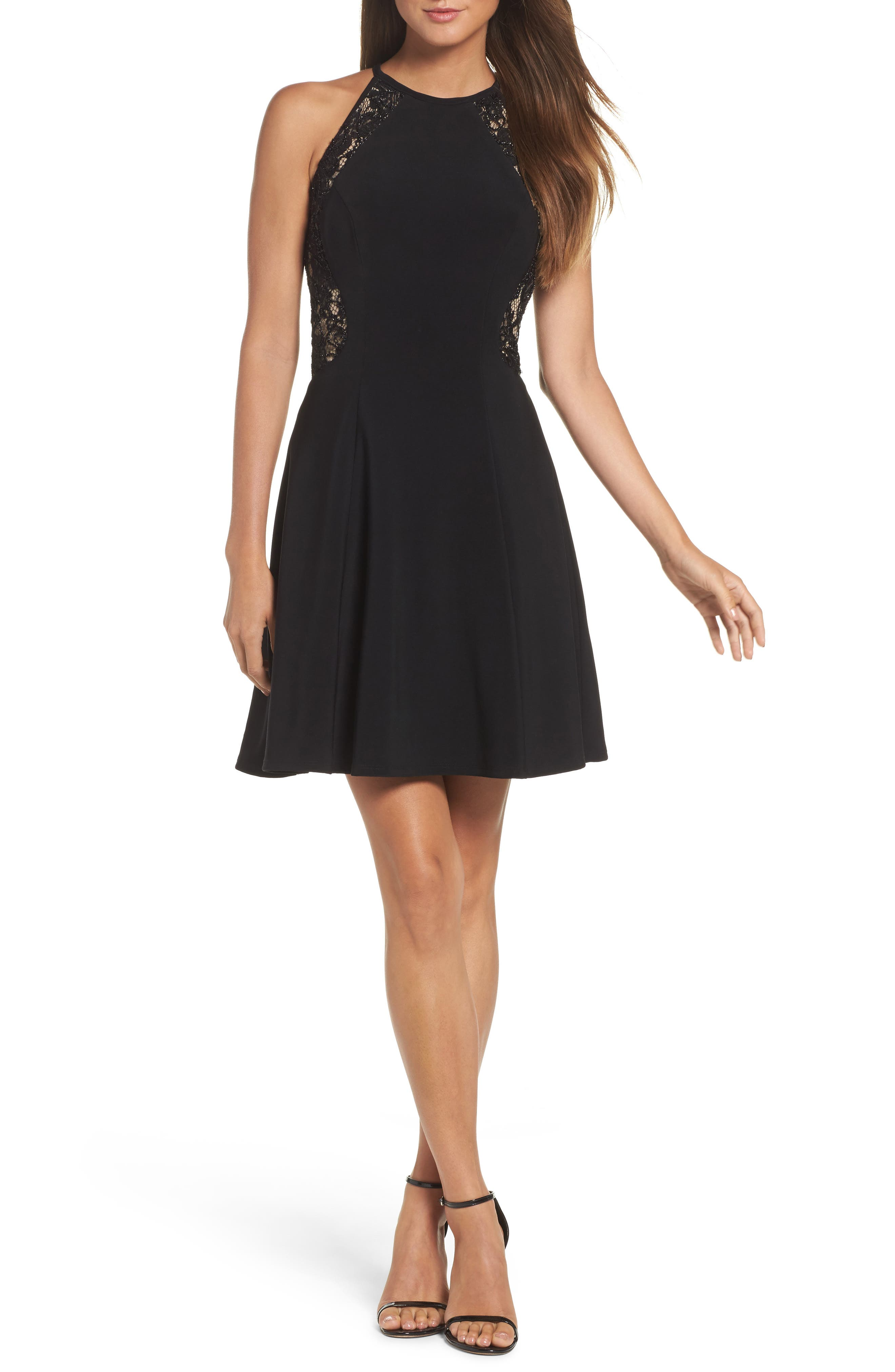 Lace & Jersey Party Dress,                             Main thumbnail 1, color,                             Black/ Nude