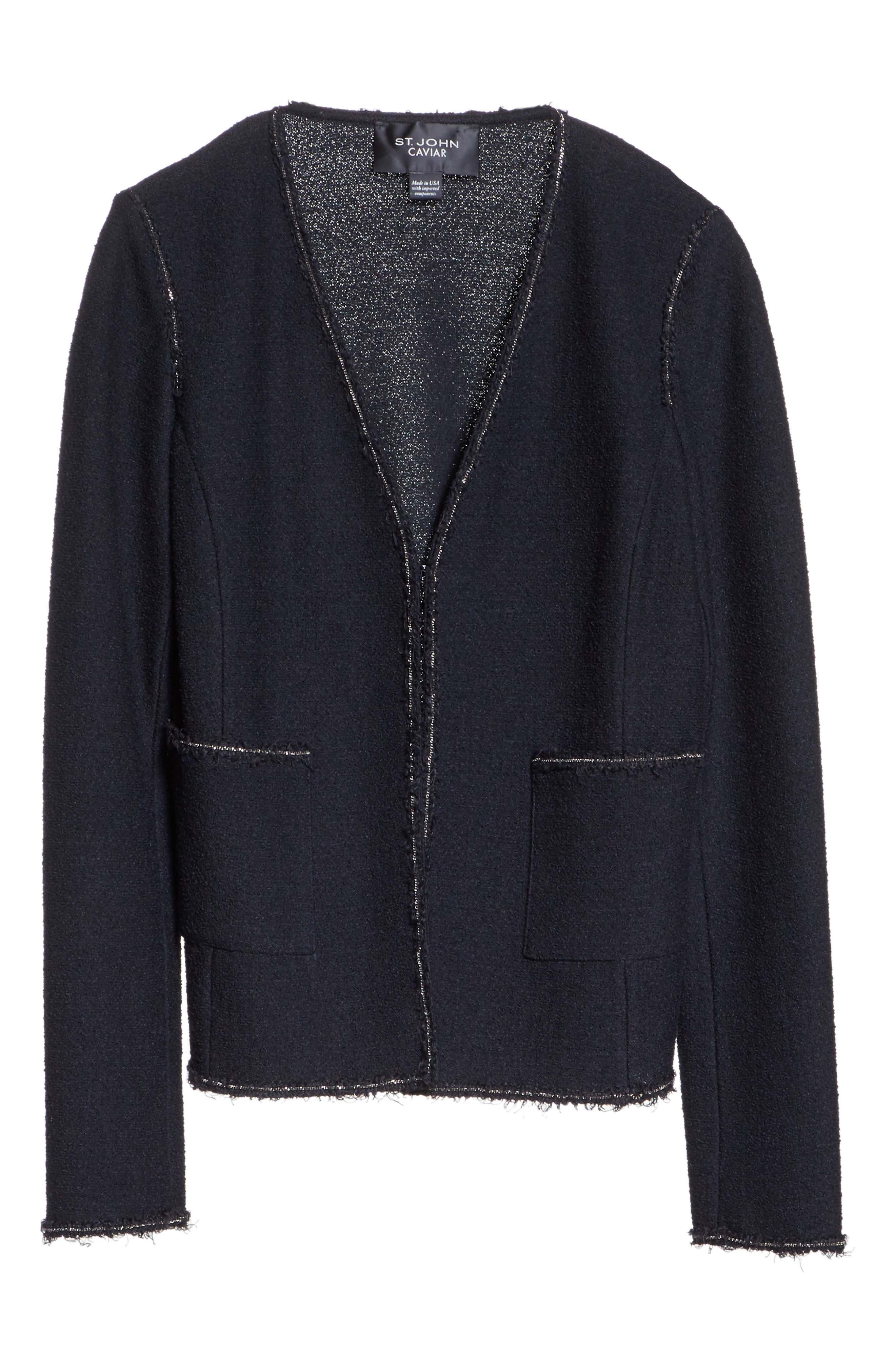Bouclé Knit Jacket,                             Alternate thumbnail 7, color,                             Caviar