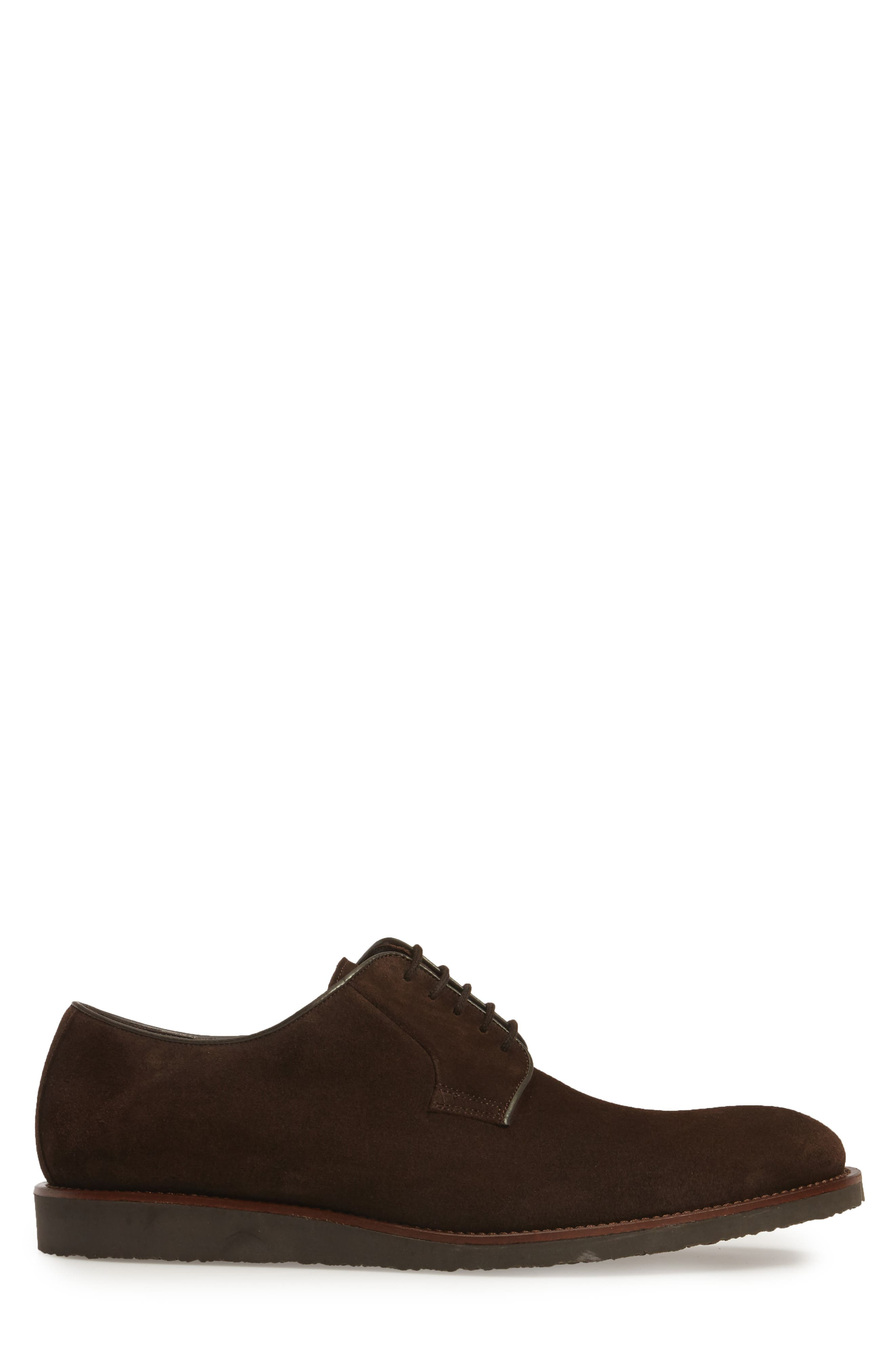 Samuel Plain-Toe Derby,                             Alternate thumbnail 3, color,                             Brown Suede Leather
