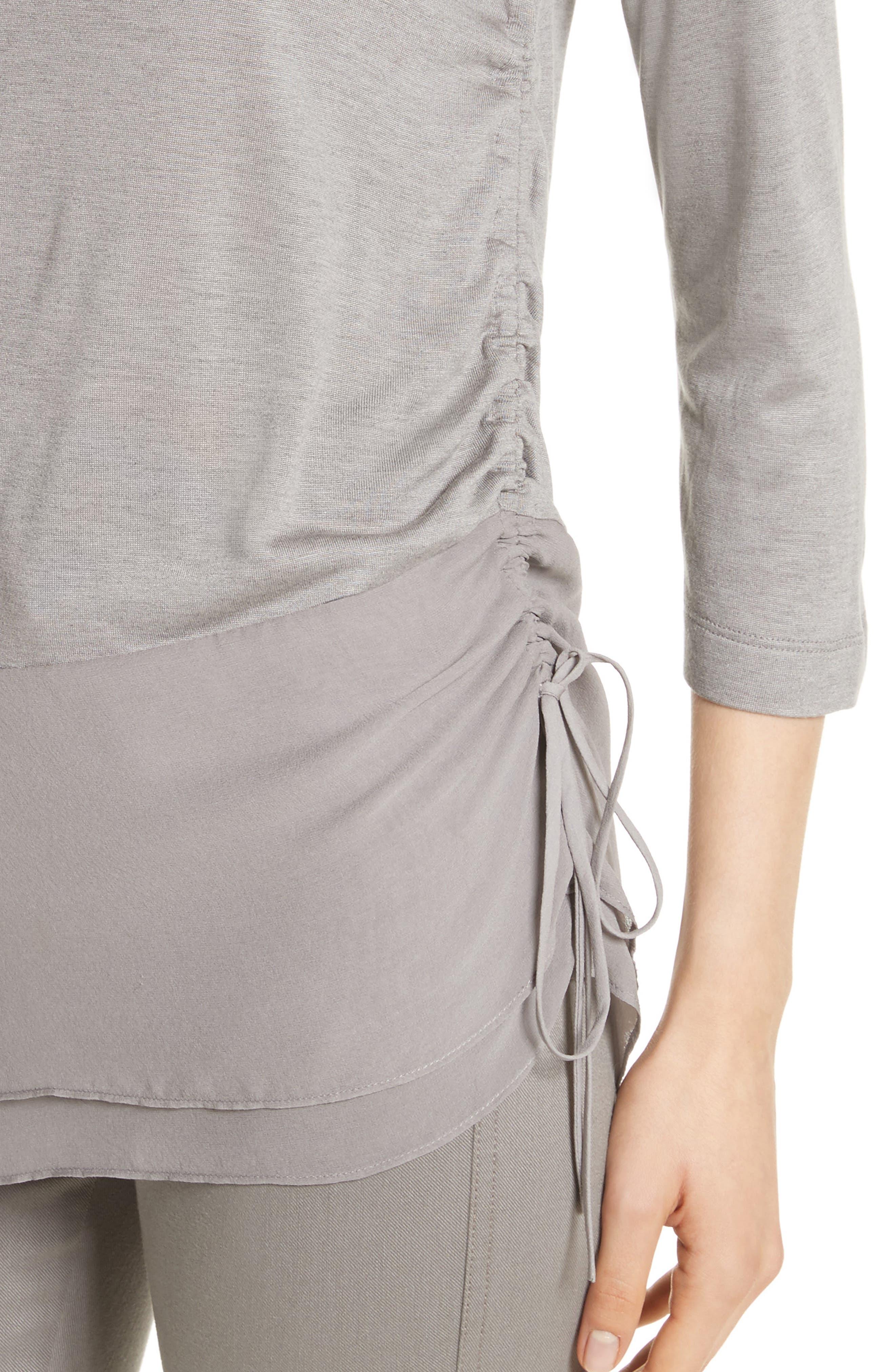 Alternate Image 5  - St. John Collection Silk Georgette & Jersey Asymmetrical Blouse