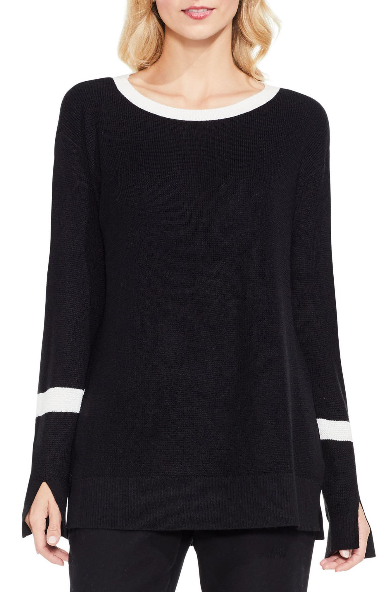 Split Bell Sleeve Sweater,                             Main thumbnail 1, color,                             Rich Black