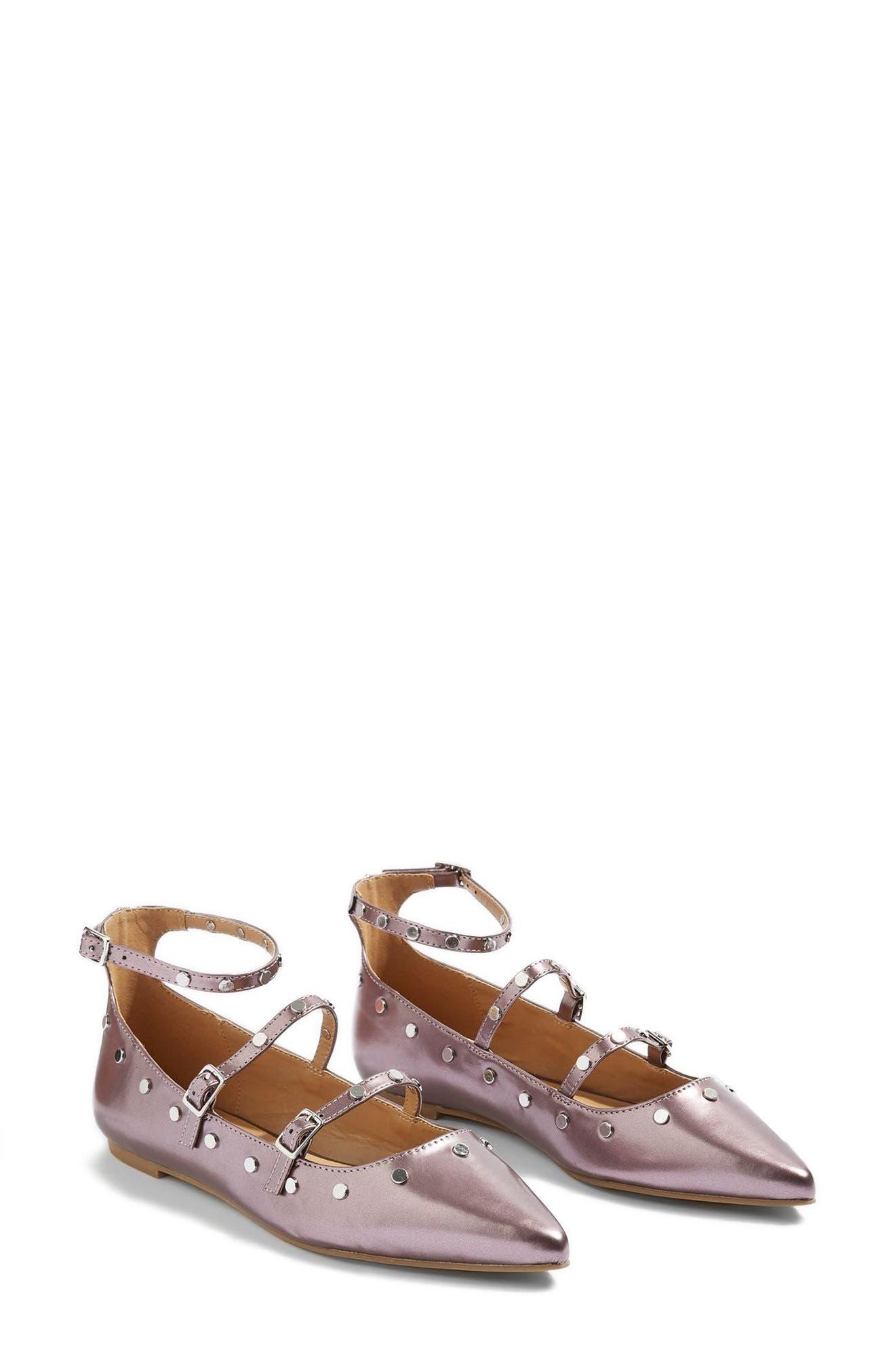 Topshop Arabelle Studded Ankle Wrap Flat (Women)