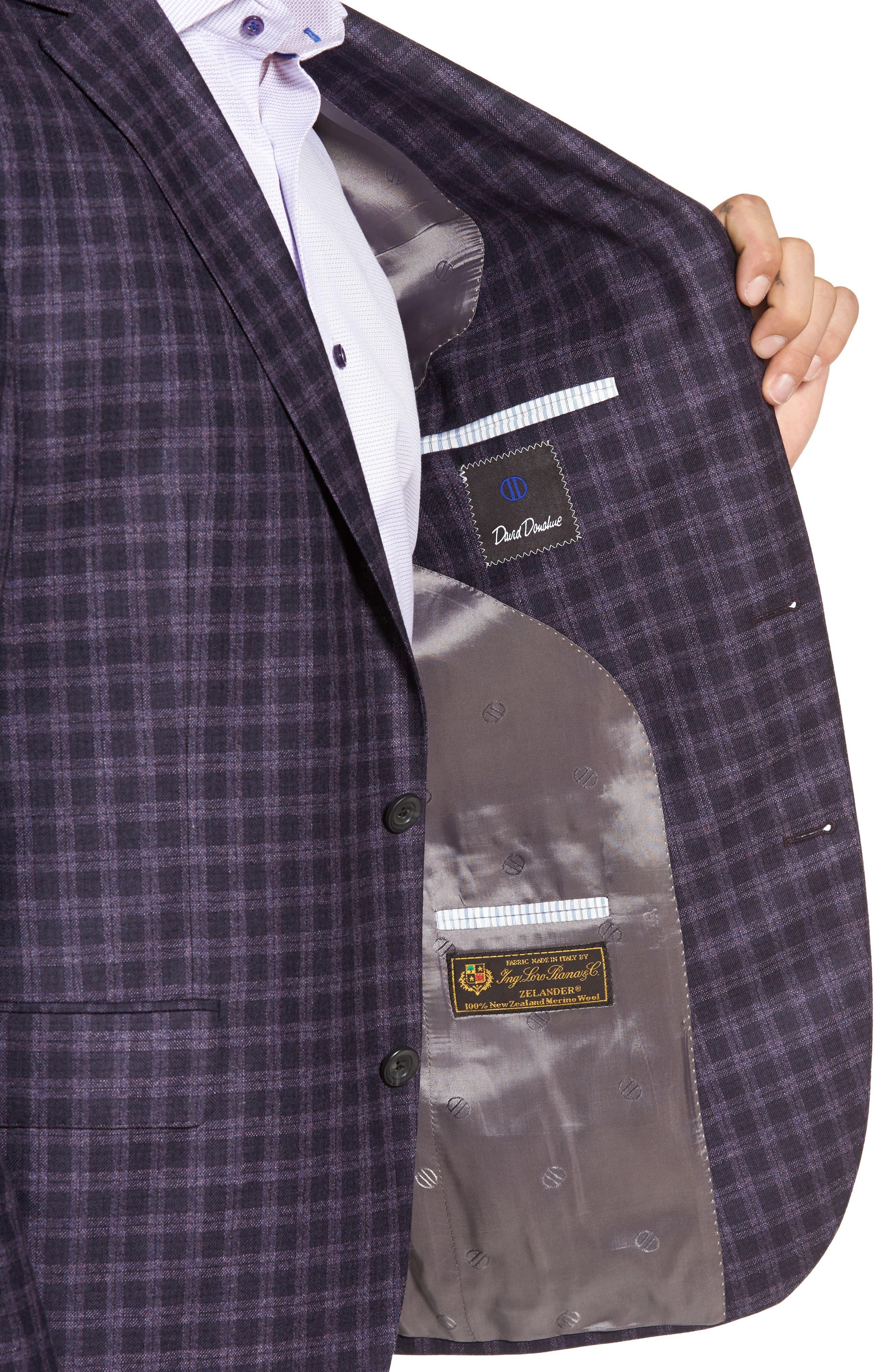 Ashton Classic Fit Check Wool Sport Coat,                             Alternate thumbnail 4, color,                             Burgundy