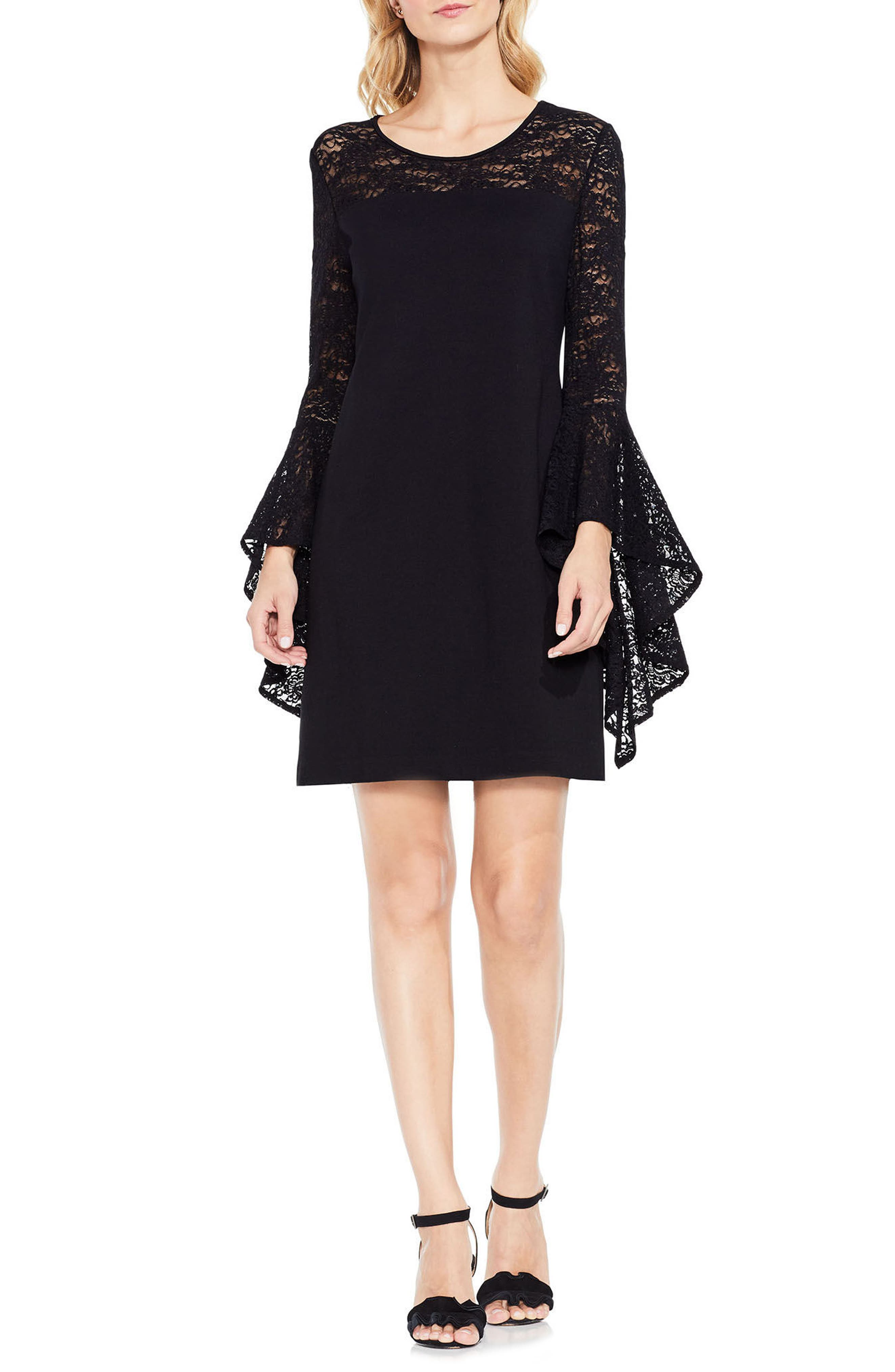Handkerchief Lace Ponte Dress,                             Alternate thumbnail 2, color,                             Rich Black
