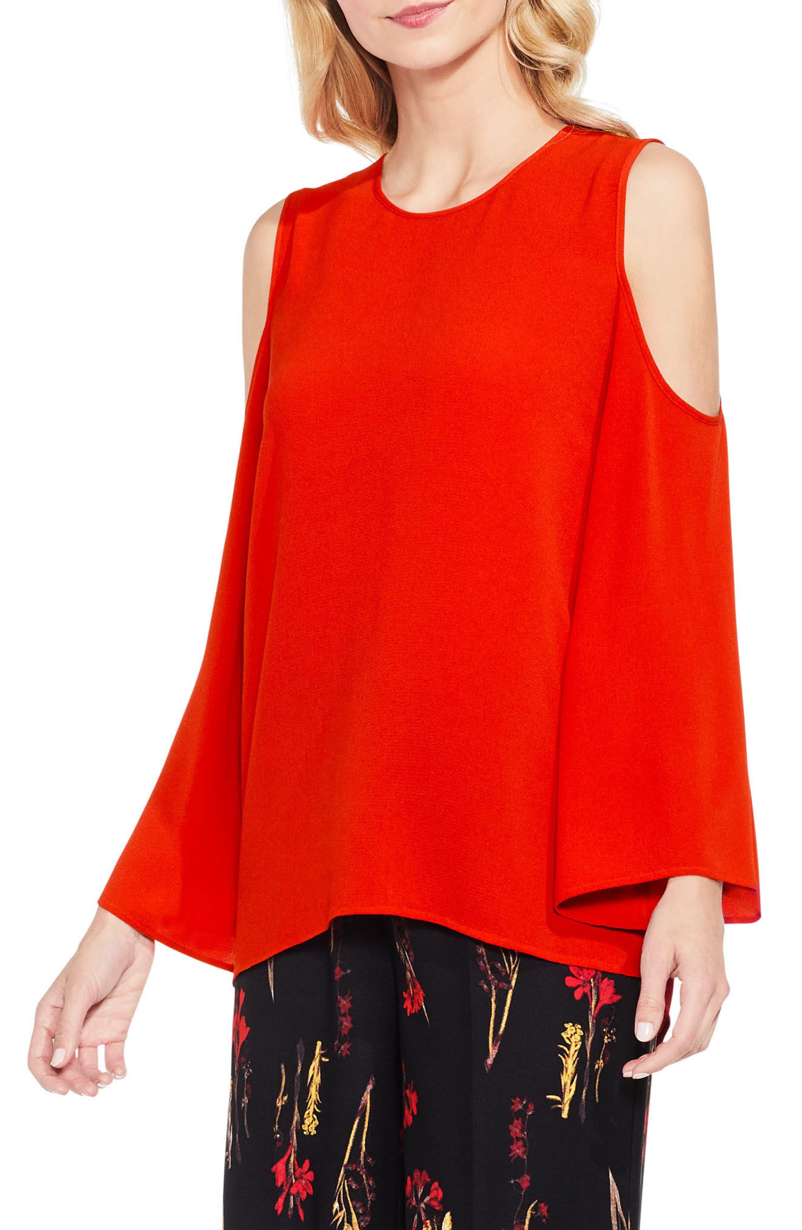 Bell Sleeve Cold Shoulder Blouse,                         Main,                         color, Vivid Flame