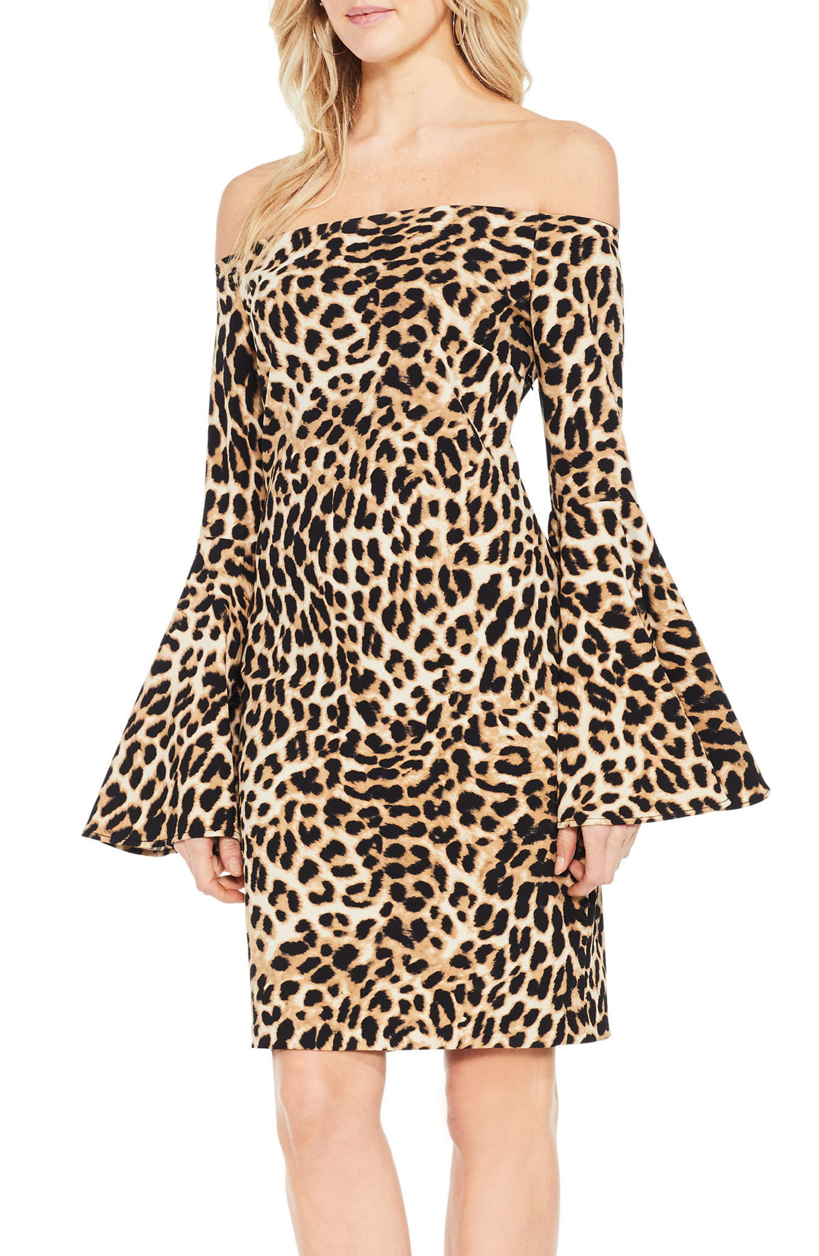 Main Image - Vince Camuto Animal Print Off the Shoulder Dress