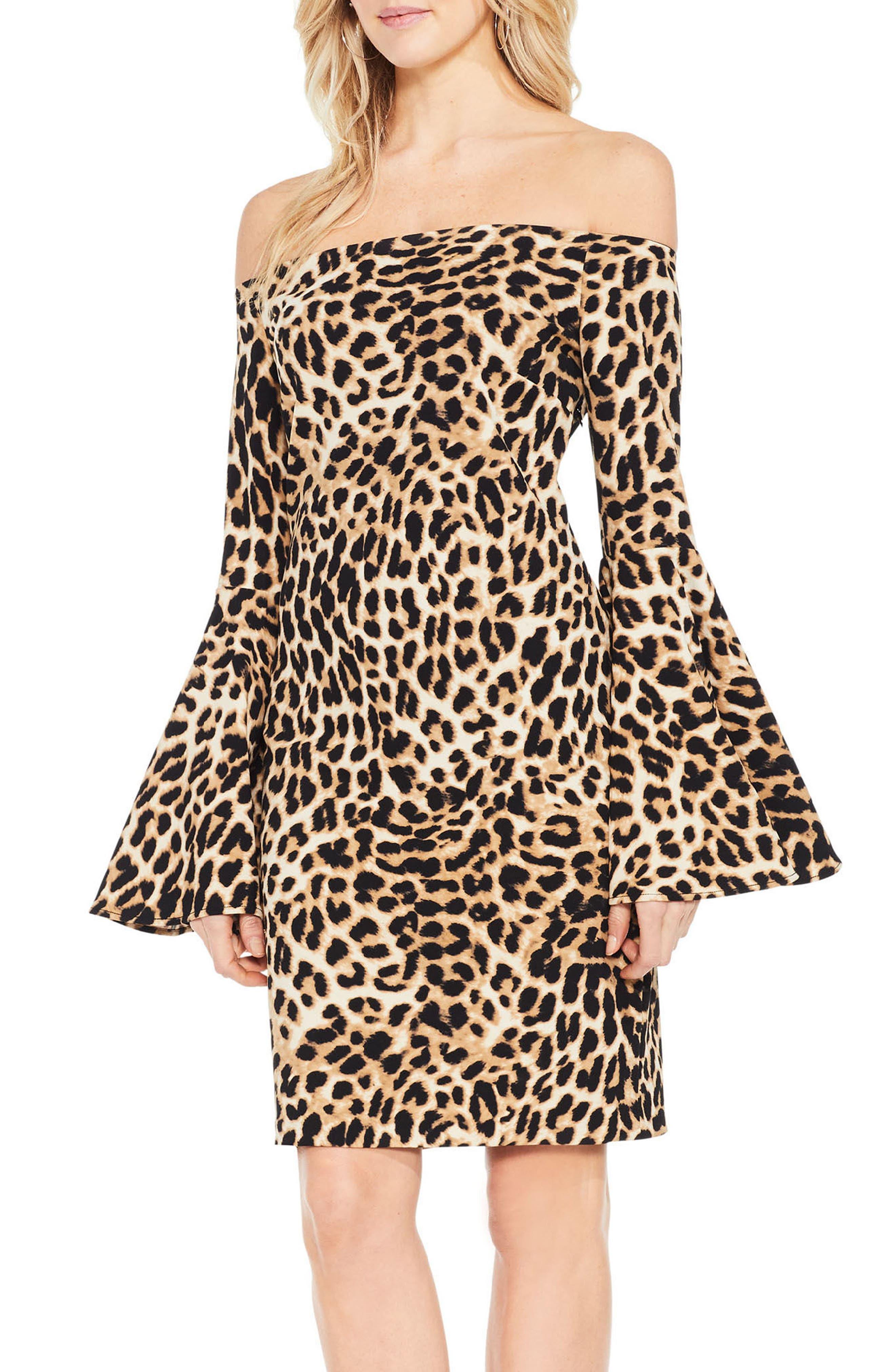 Animal Print Off the Shoulder Dress,                         Main,                         color, Rich Black