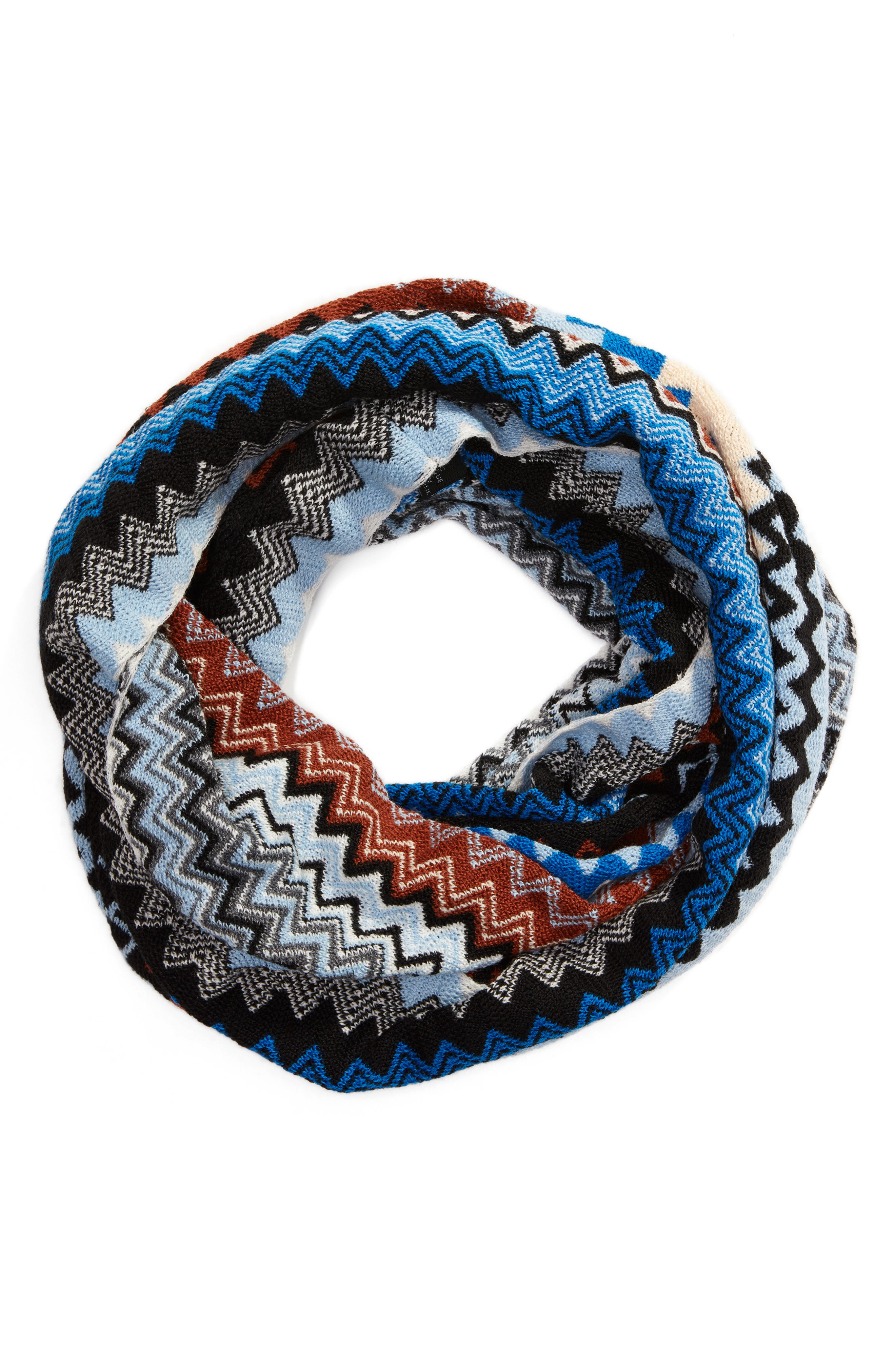 Knit Infinity Scarf,                             Alternate thumbnail 3, color,                             Blue/ Brown