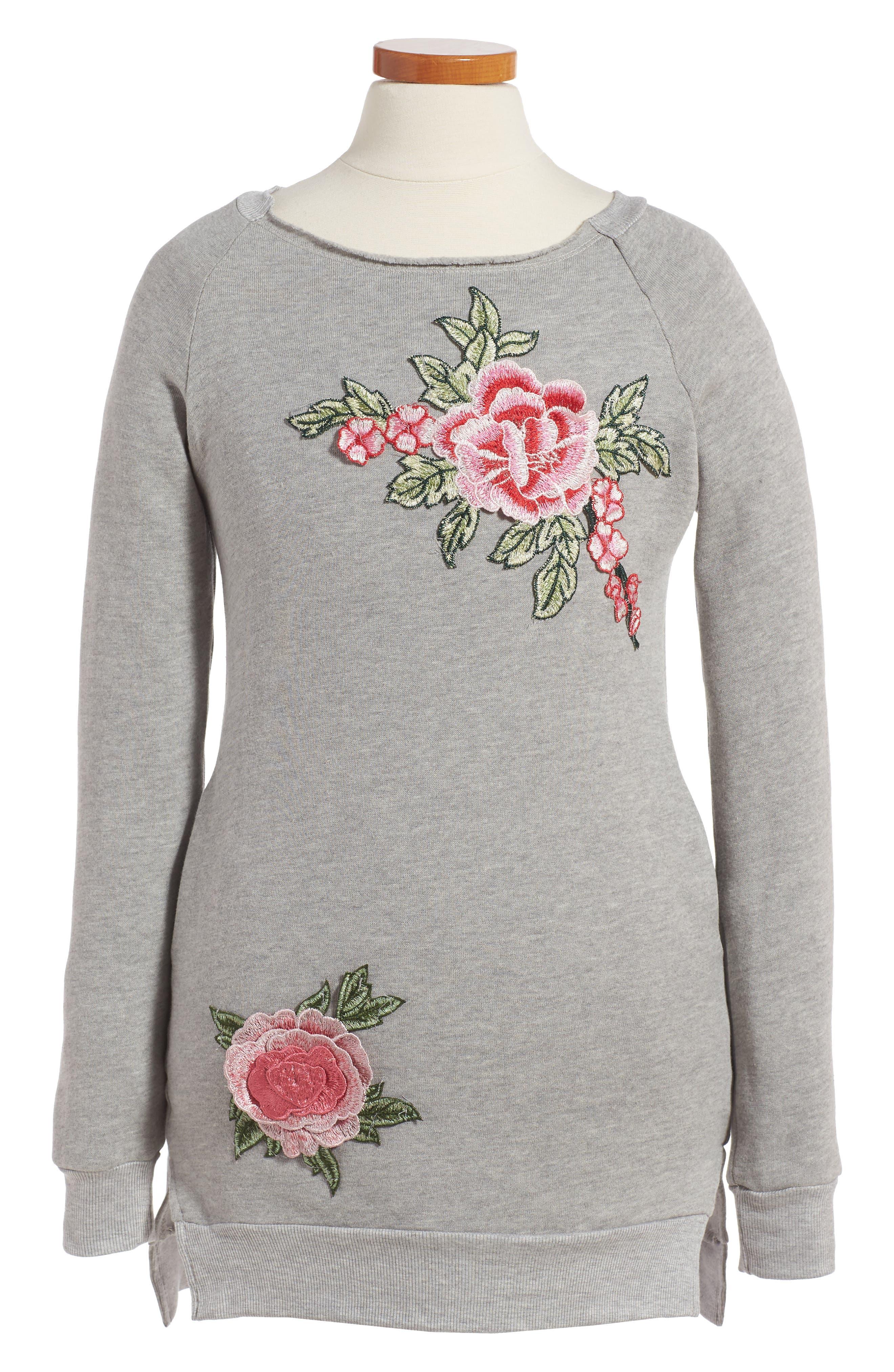 Dreamer Appliqué Sweatshirt Dress,                         Main,                         color, Heather Grey