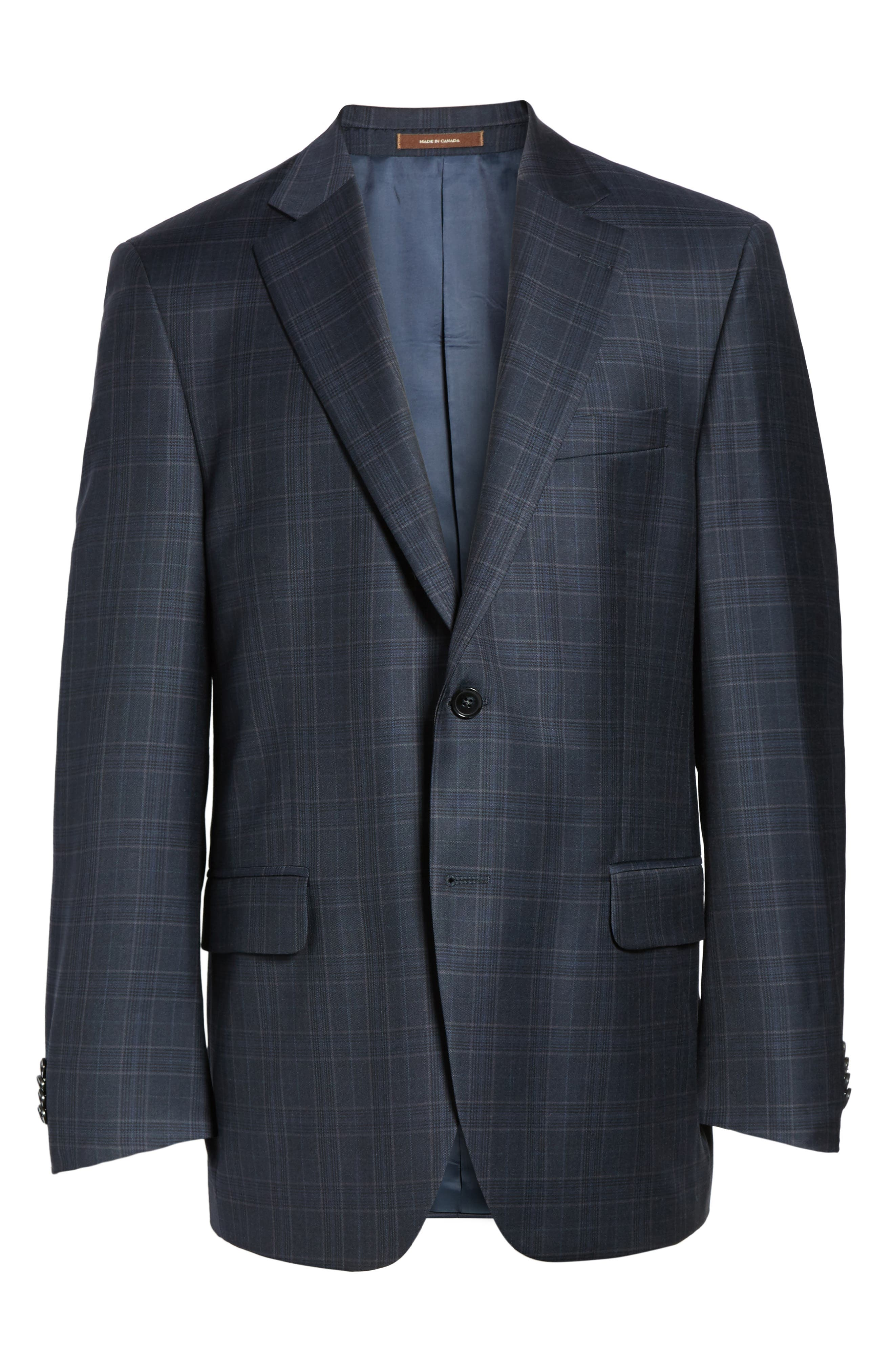 Flynn Classic Fit Plaid Wool Sport Coat,                             Alternate thumbnail 6, color,                             Navy