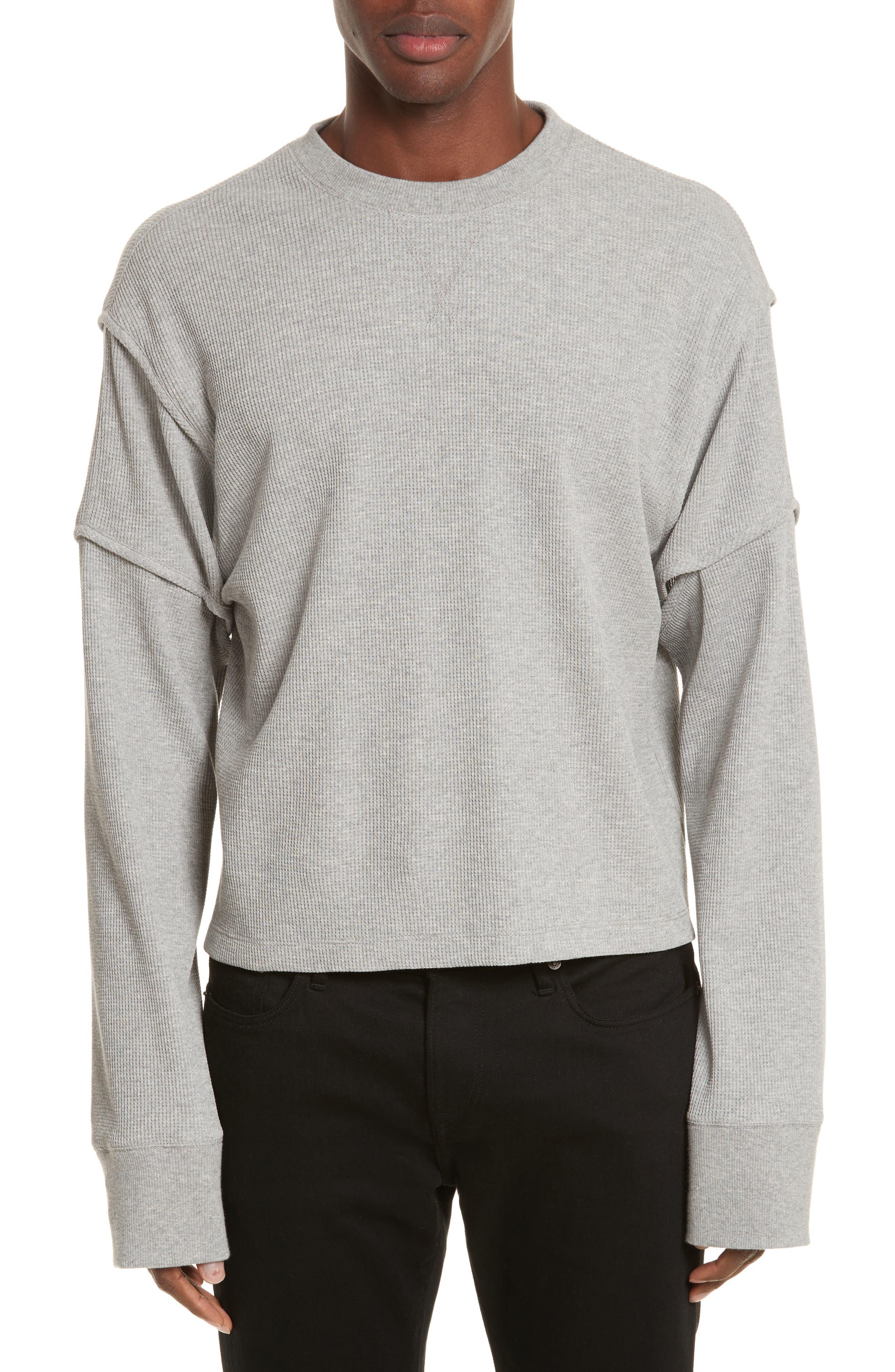 Military Panel Sleeve Thermal Shirt,                             Main thumbnail 1, color,                             Grey Melange