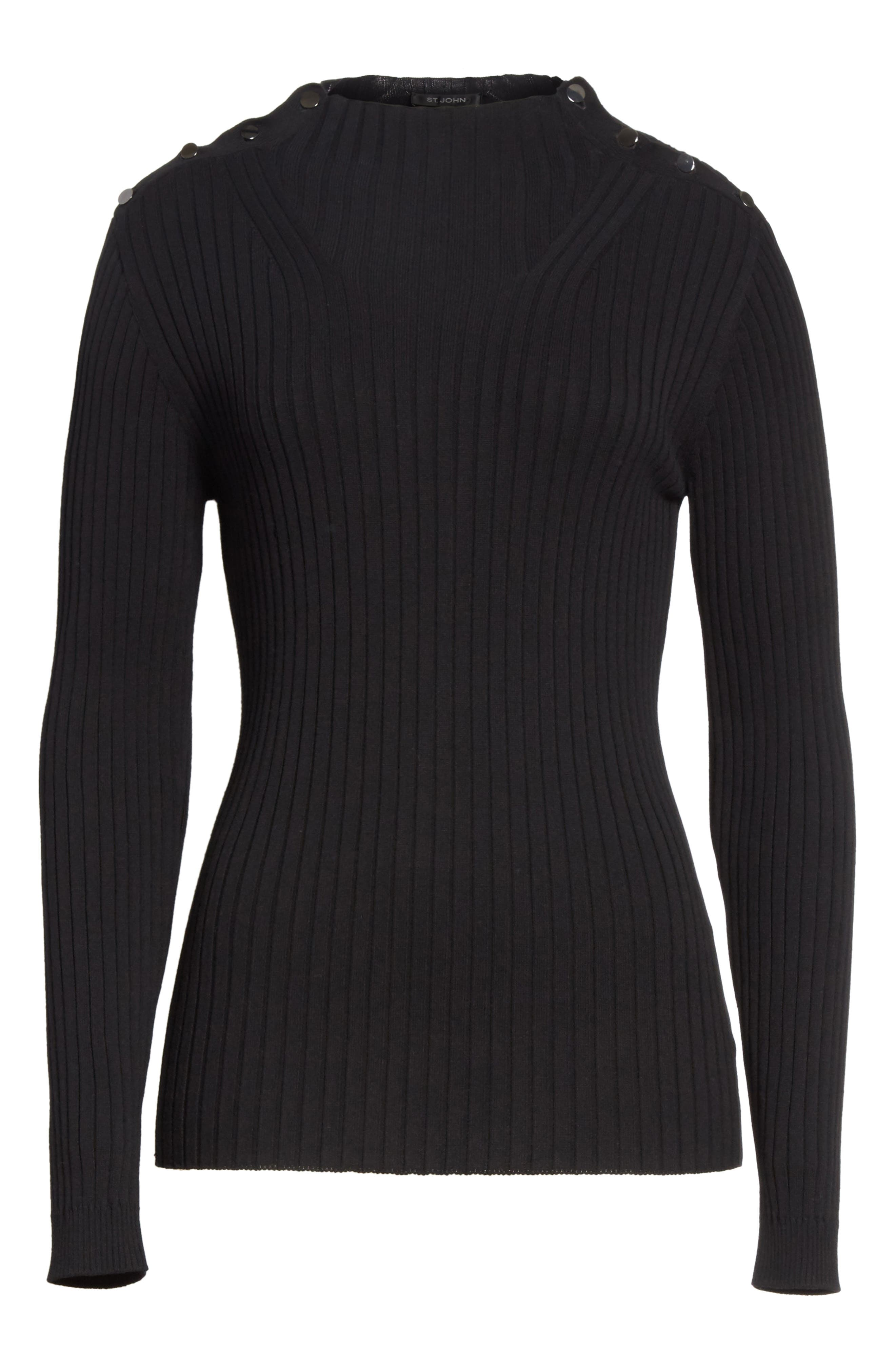 Flat Rib Knit Mock Neck Sweater,                             Alternate thumbnail 8, color,                             Caviar