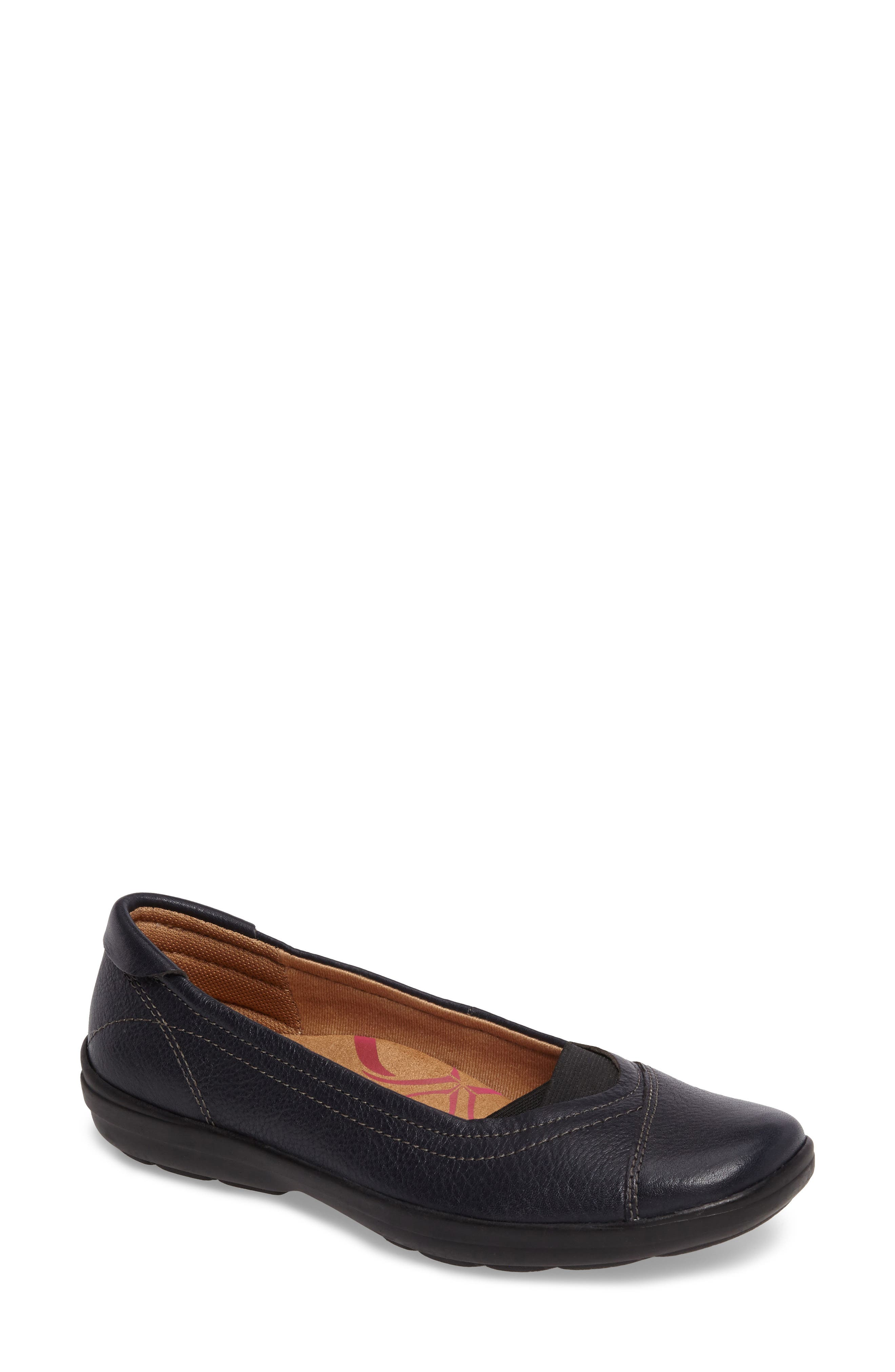 Renee Flat,                             Main thumbnail 1, color,                             Navy Leather
